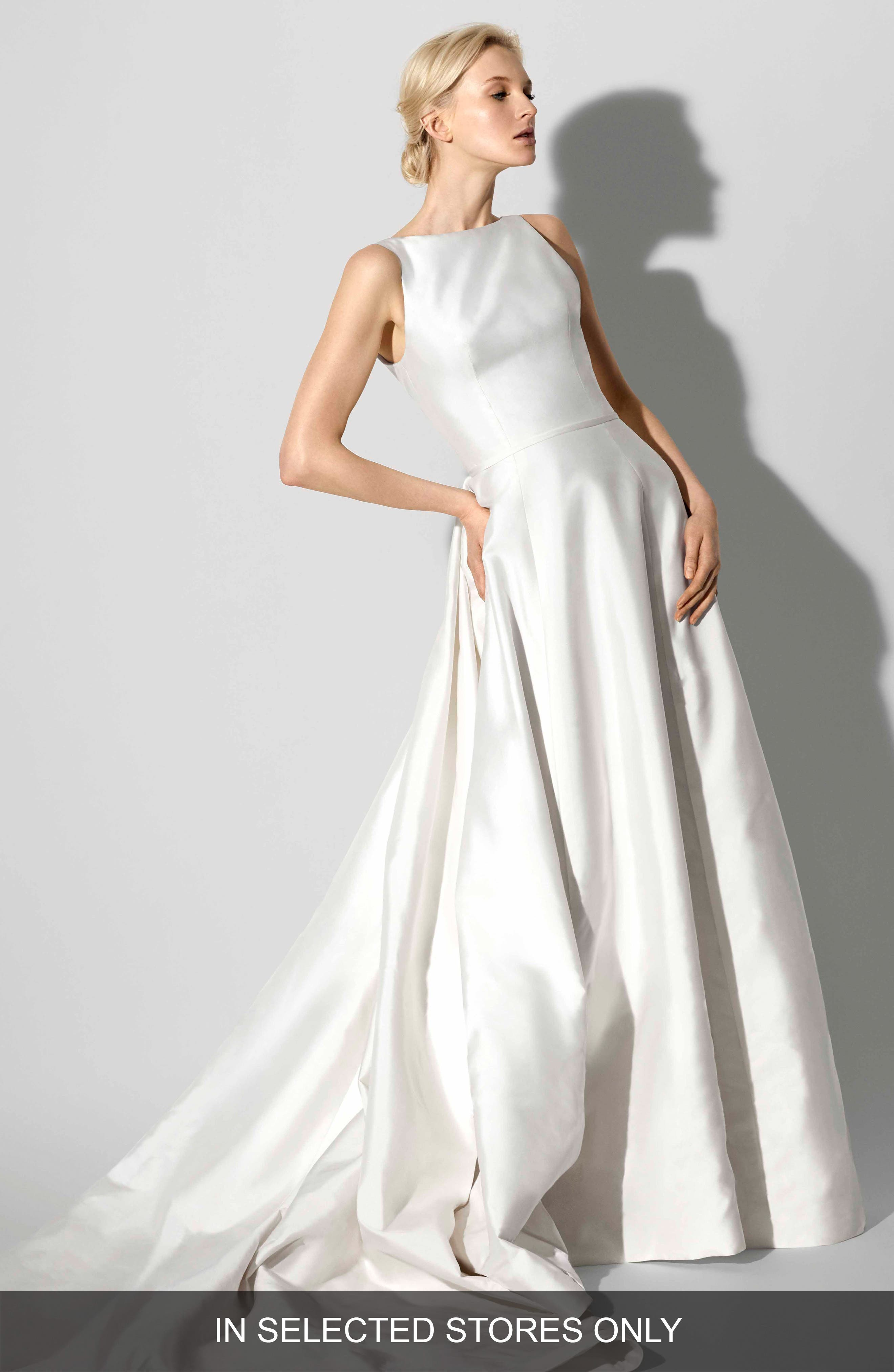 Francesca Bateau Neck A-Line Gown in Ivory