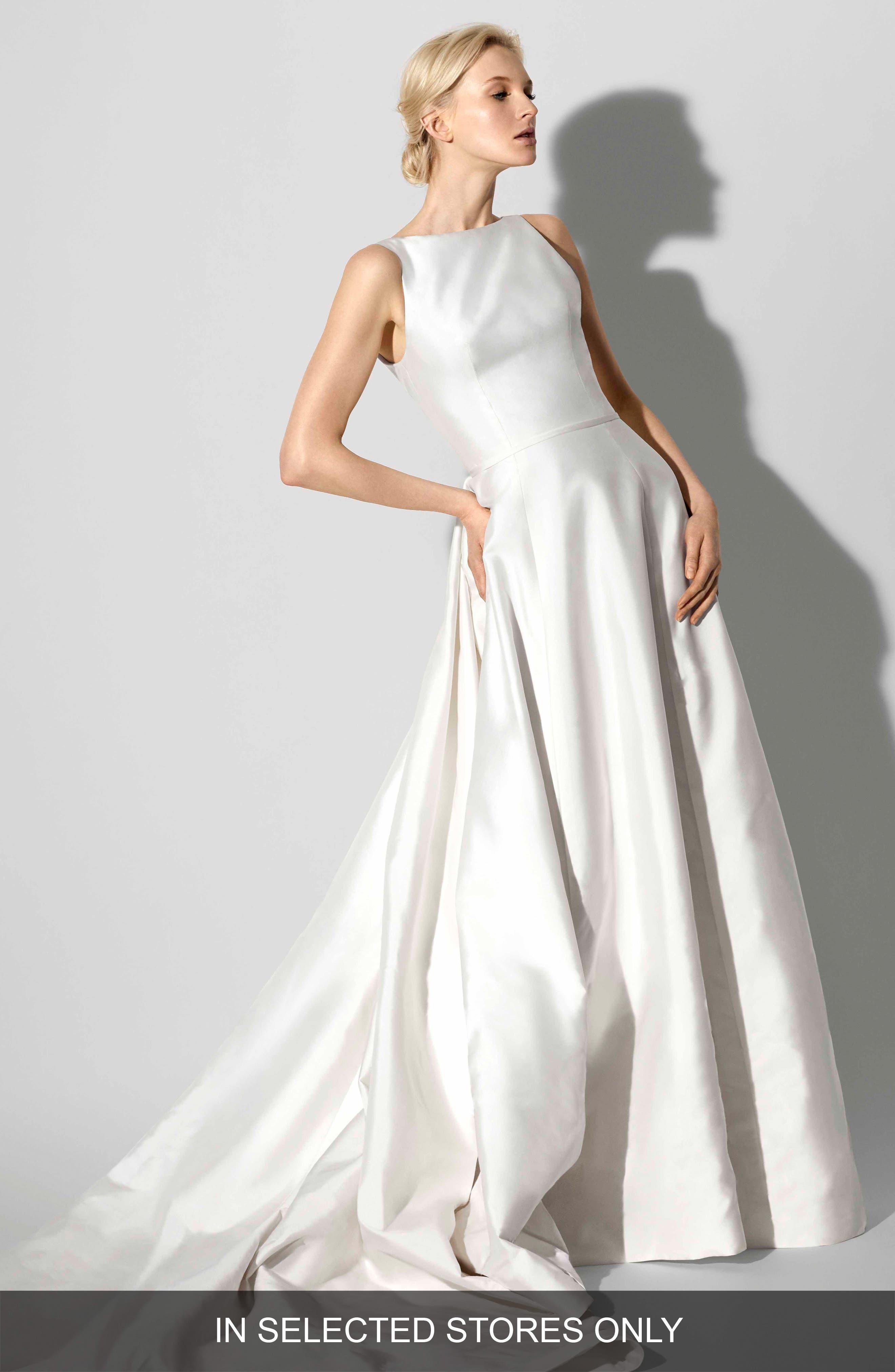 Francesca Bateau Neck A-Line Gown,                             Main thumbnail 1, color,                             Ivory