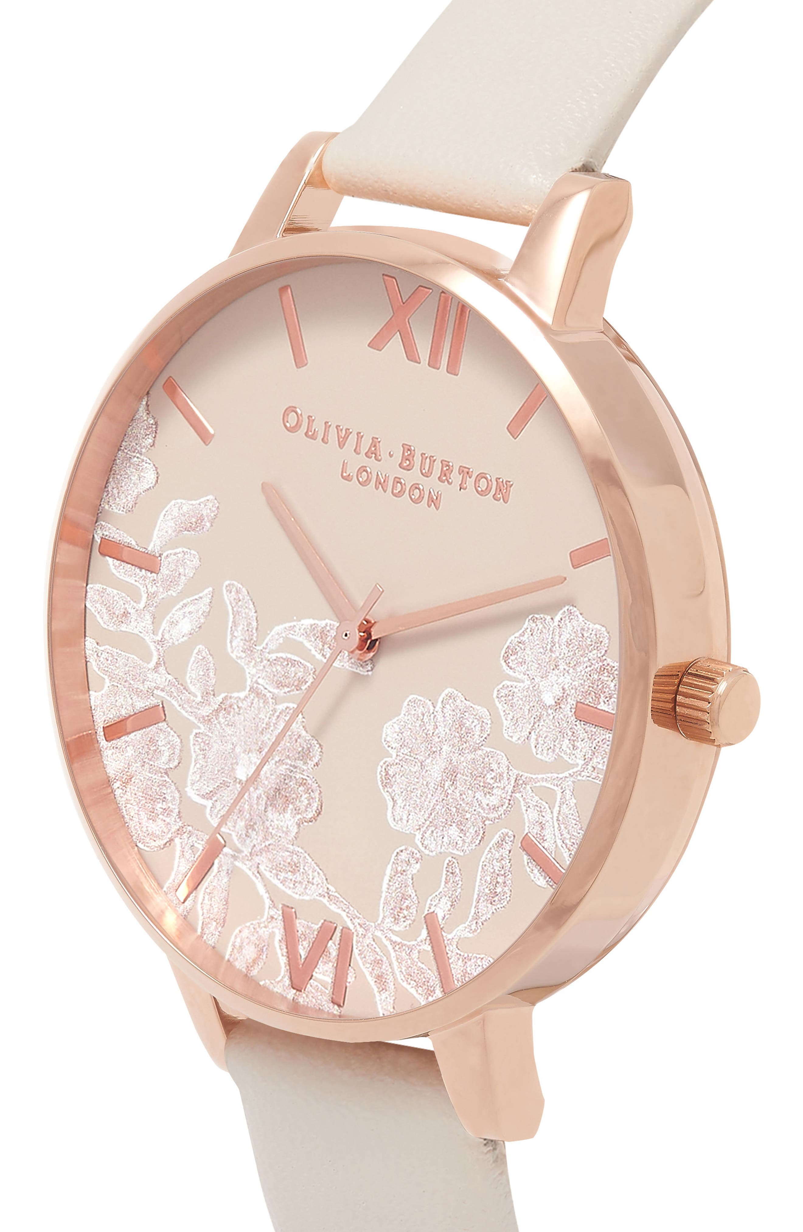 Lace Detail Faux Leather Strap Watch, 38mm,                             Alternate thumbnail 4, color,                             Nude/ Grey Floral/ Rose Gold