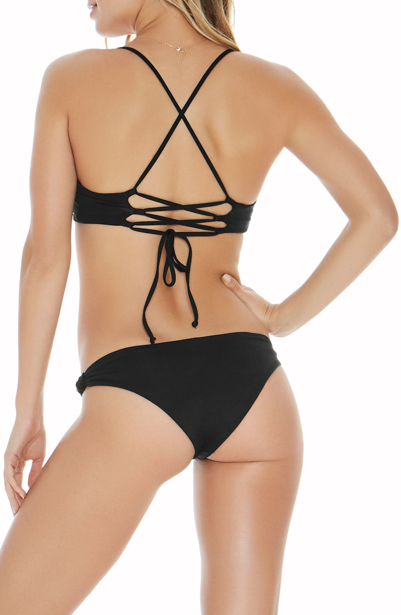 Flynn Domino Bikini Top,                             Alternate thumbnail 2, color,                             Black