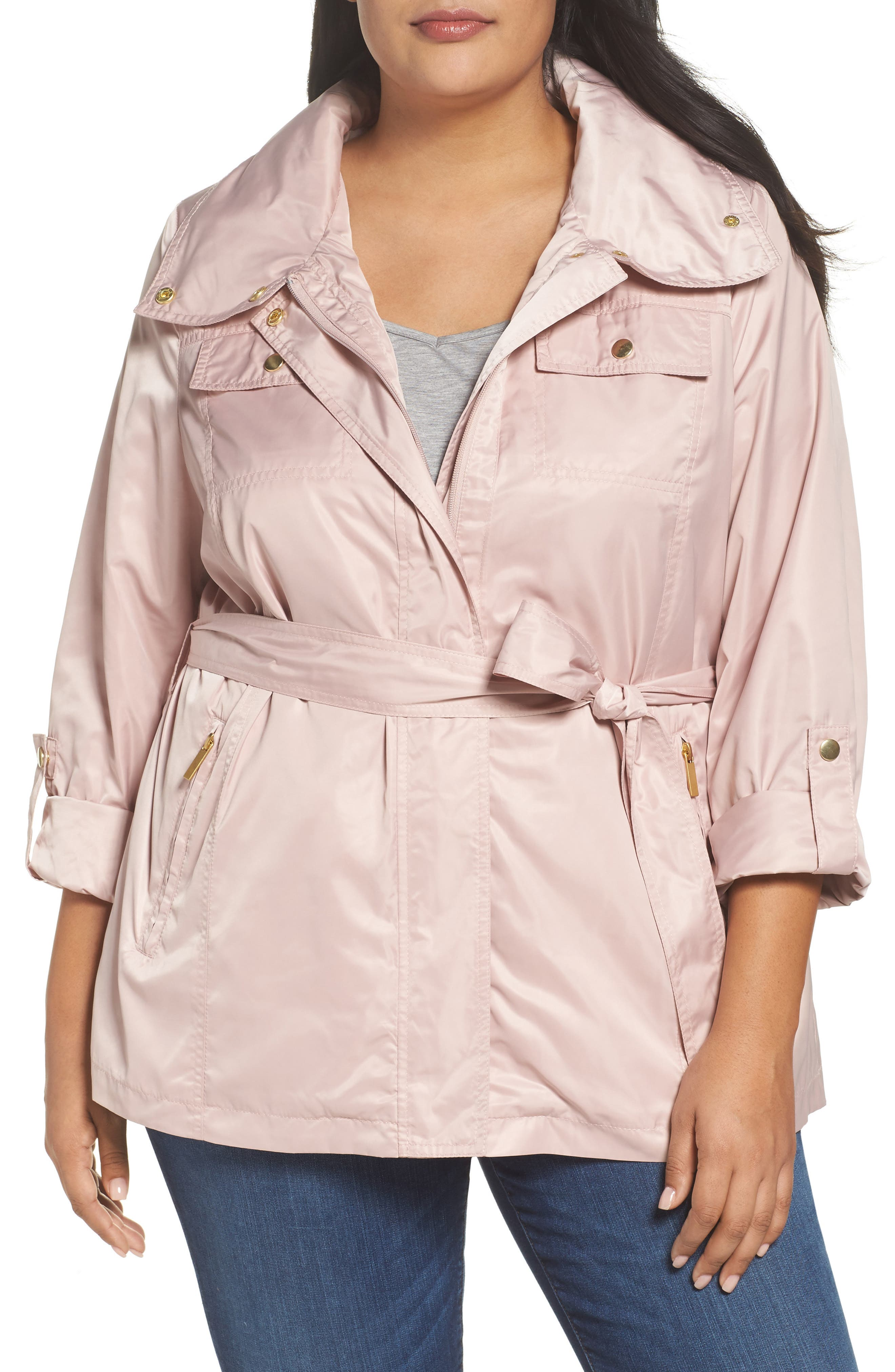 Belted Lightweight Jacket,                             Main thumbnail 1, color,                             Blush