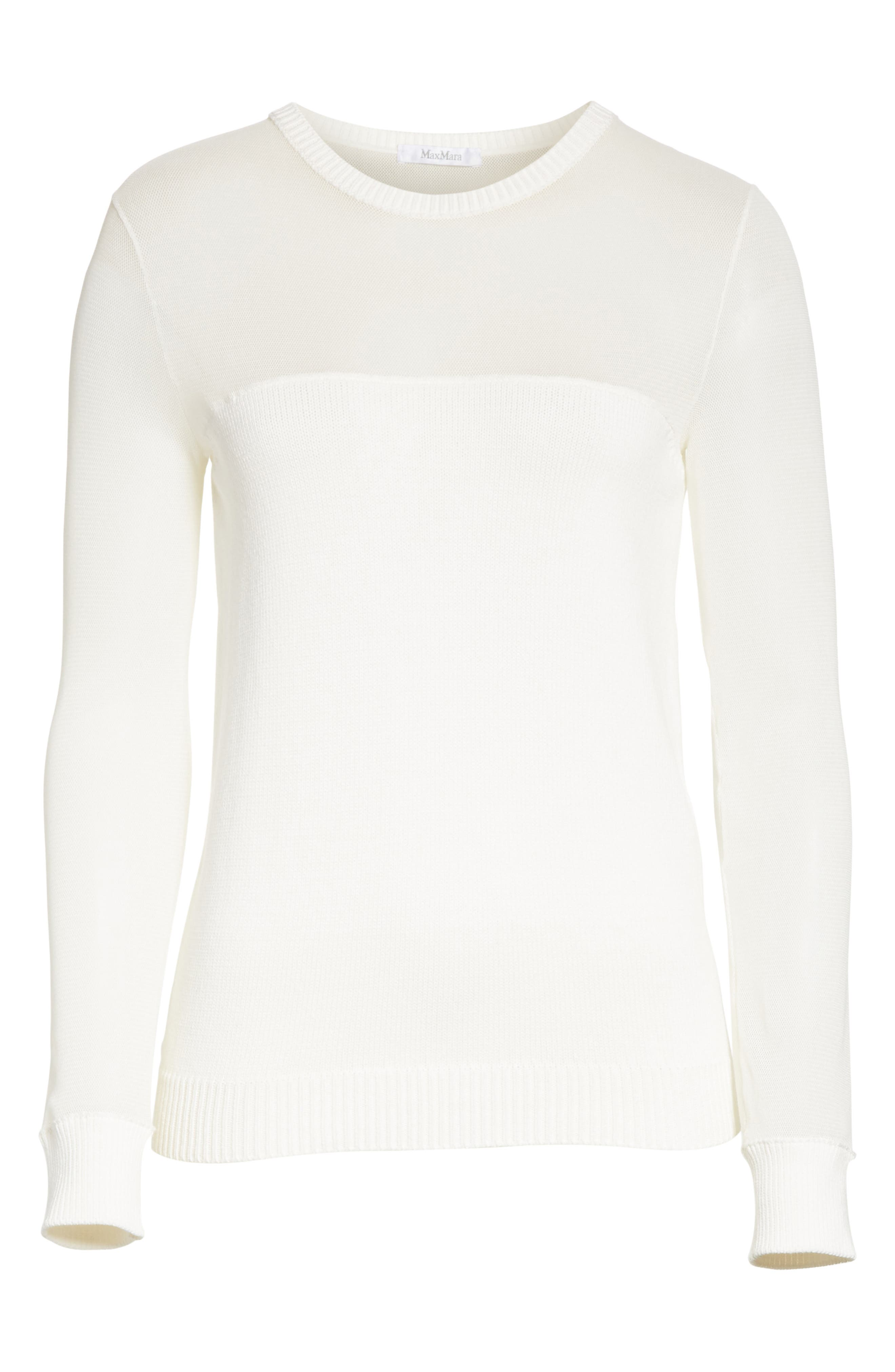 Cantore Mesh Yoke Sweater,                             Alternate thumbnail 6, color,                             Ivory