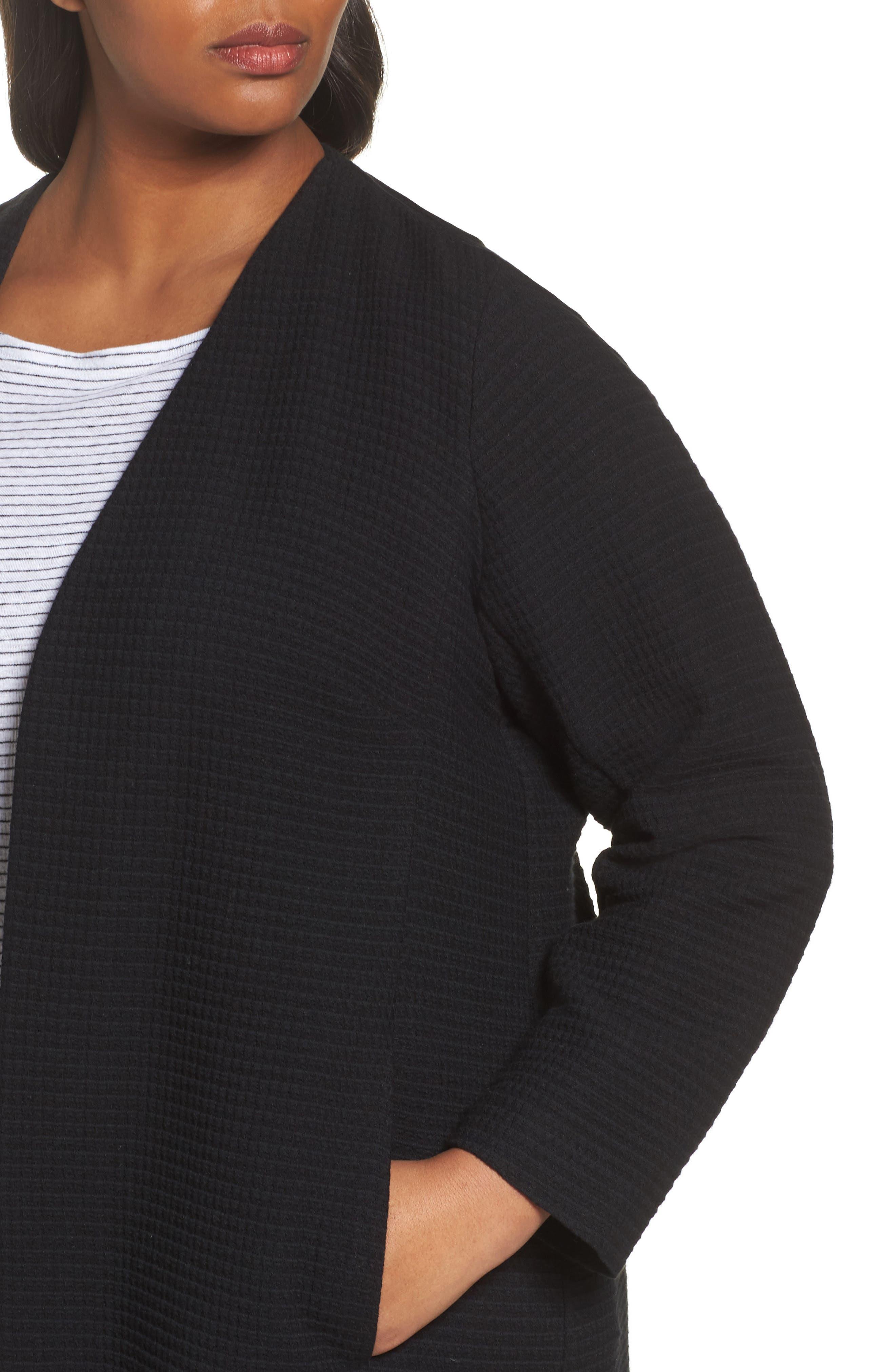 Long Jacquard Jacket,                             Alternate thumbnail 4, color,                             Black