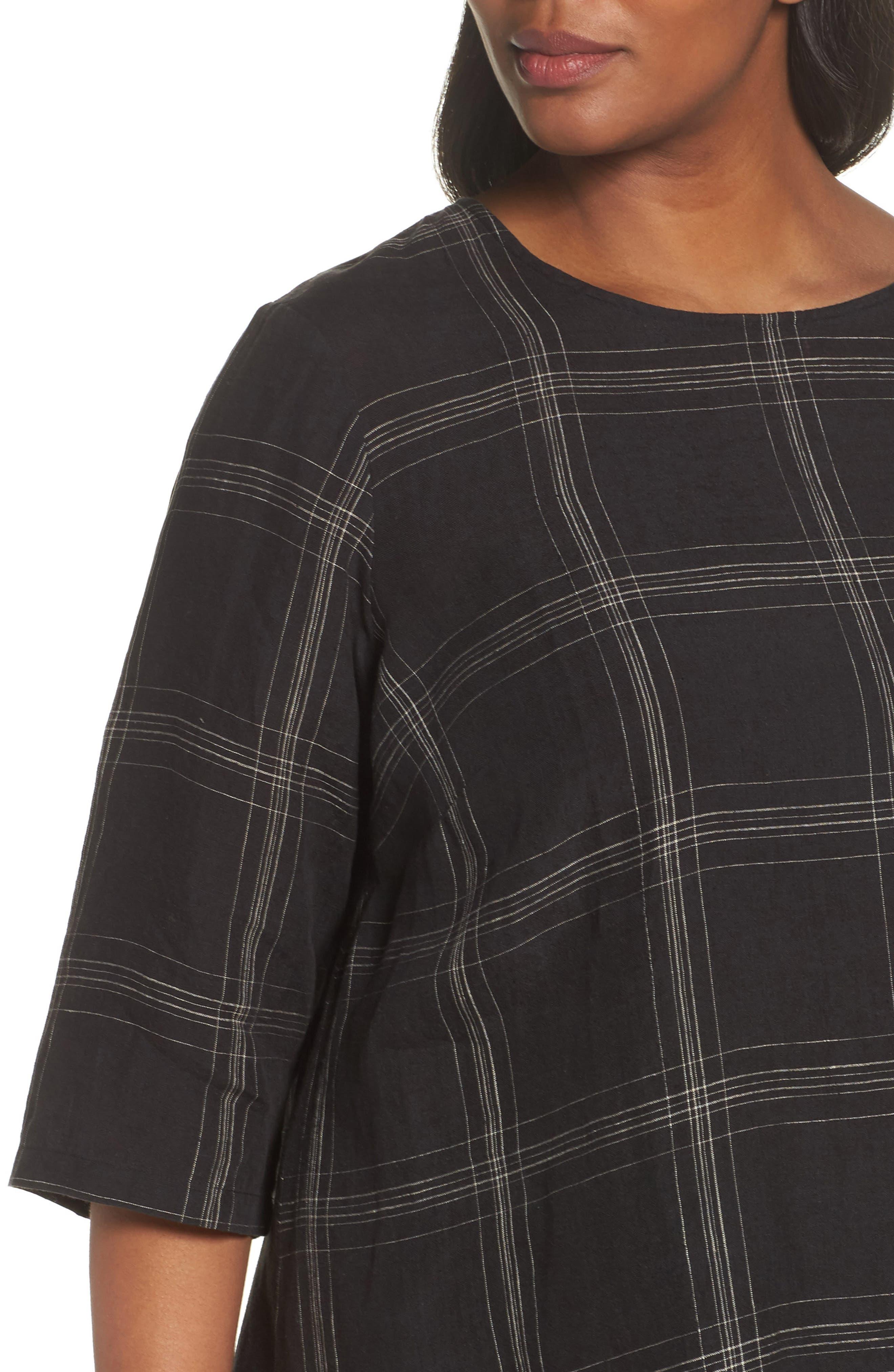 Plaid Organic Linen Tunic,                             Alternate thumbnail 4, color,                             Black