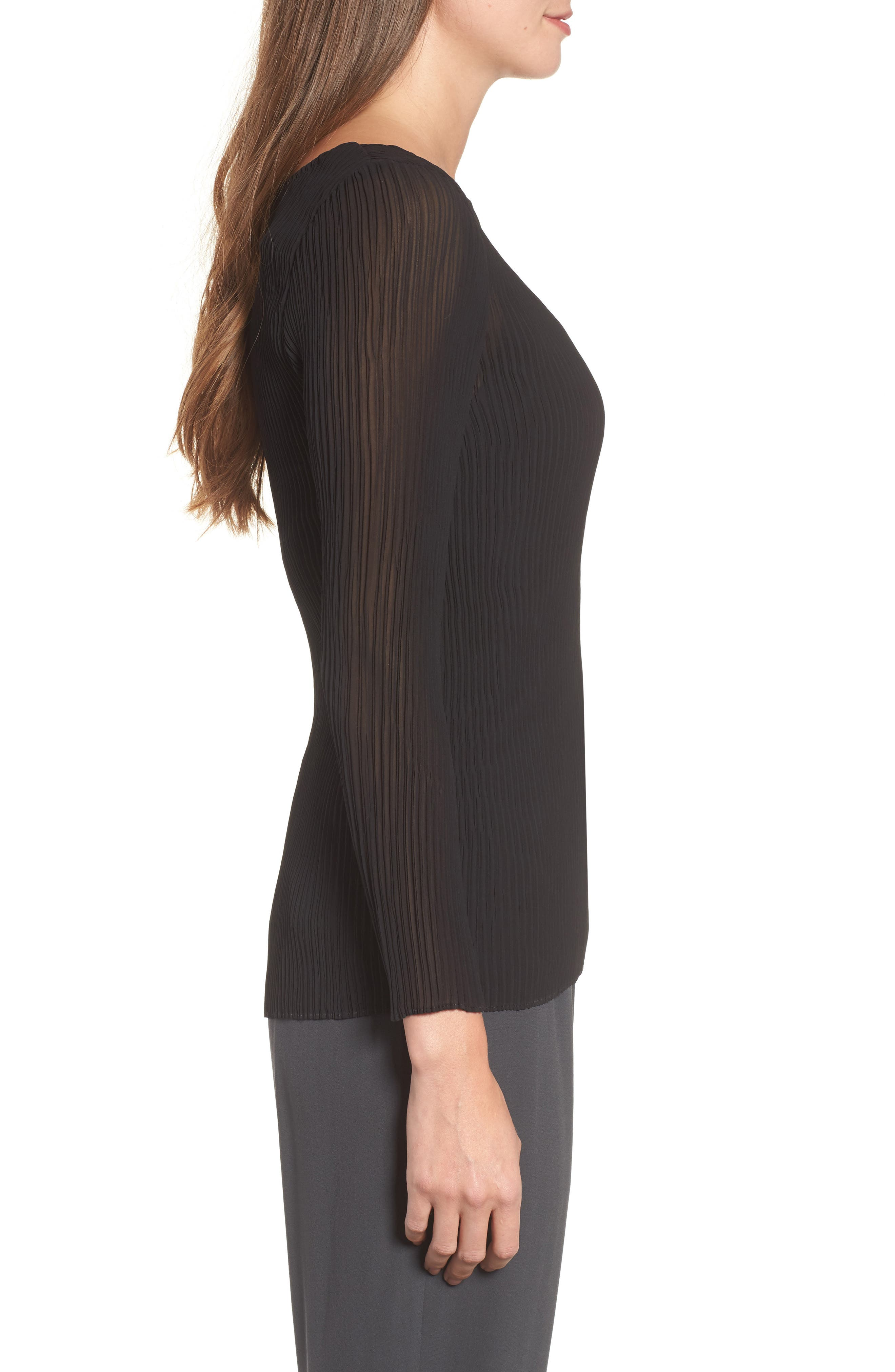 Ribbed Top,                             Alternate thumbnail 3, color,                             Black