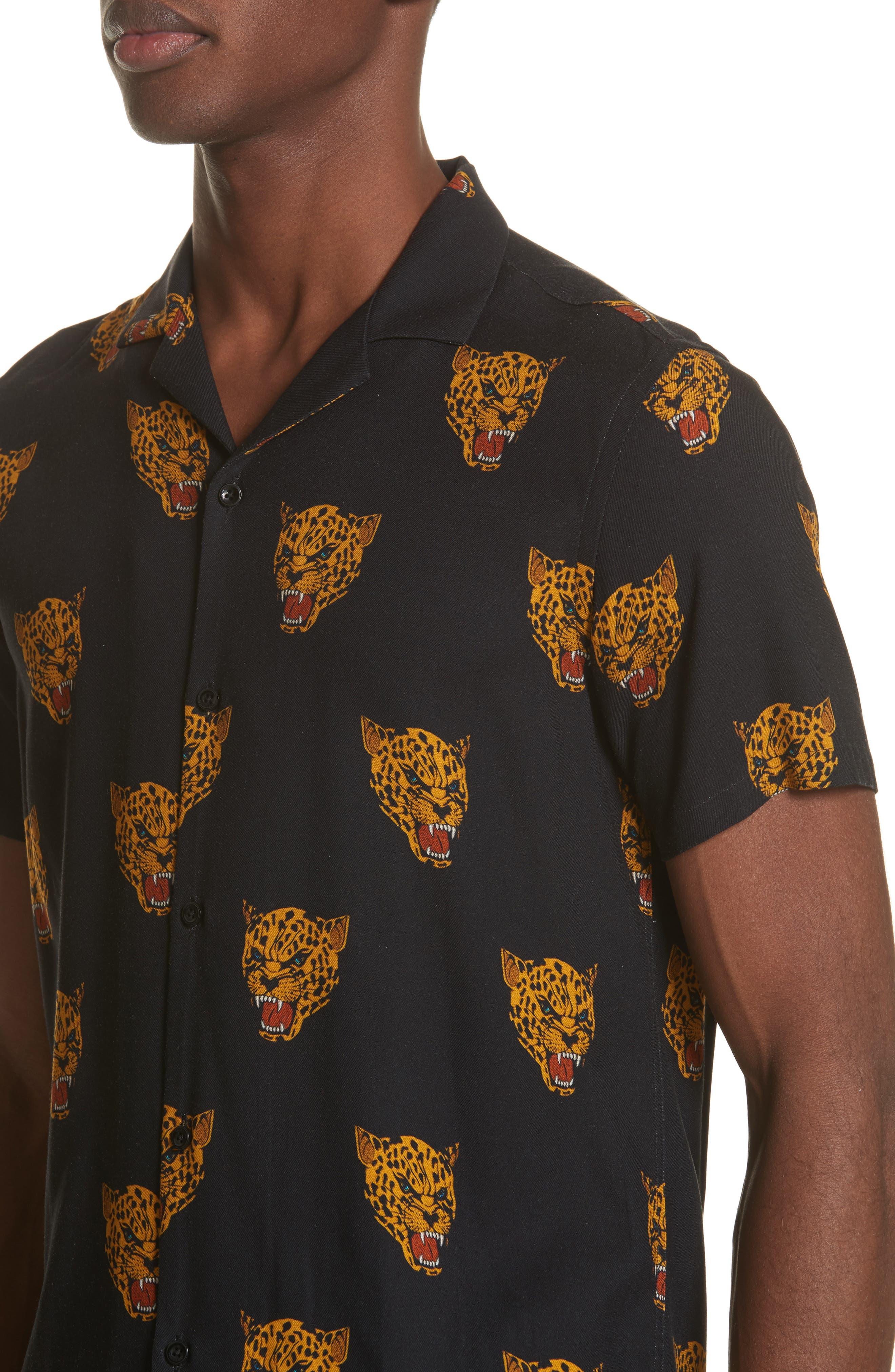 Tiger Print Camp Shirt,                             Alternate thumbnail 2, color,                             Black