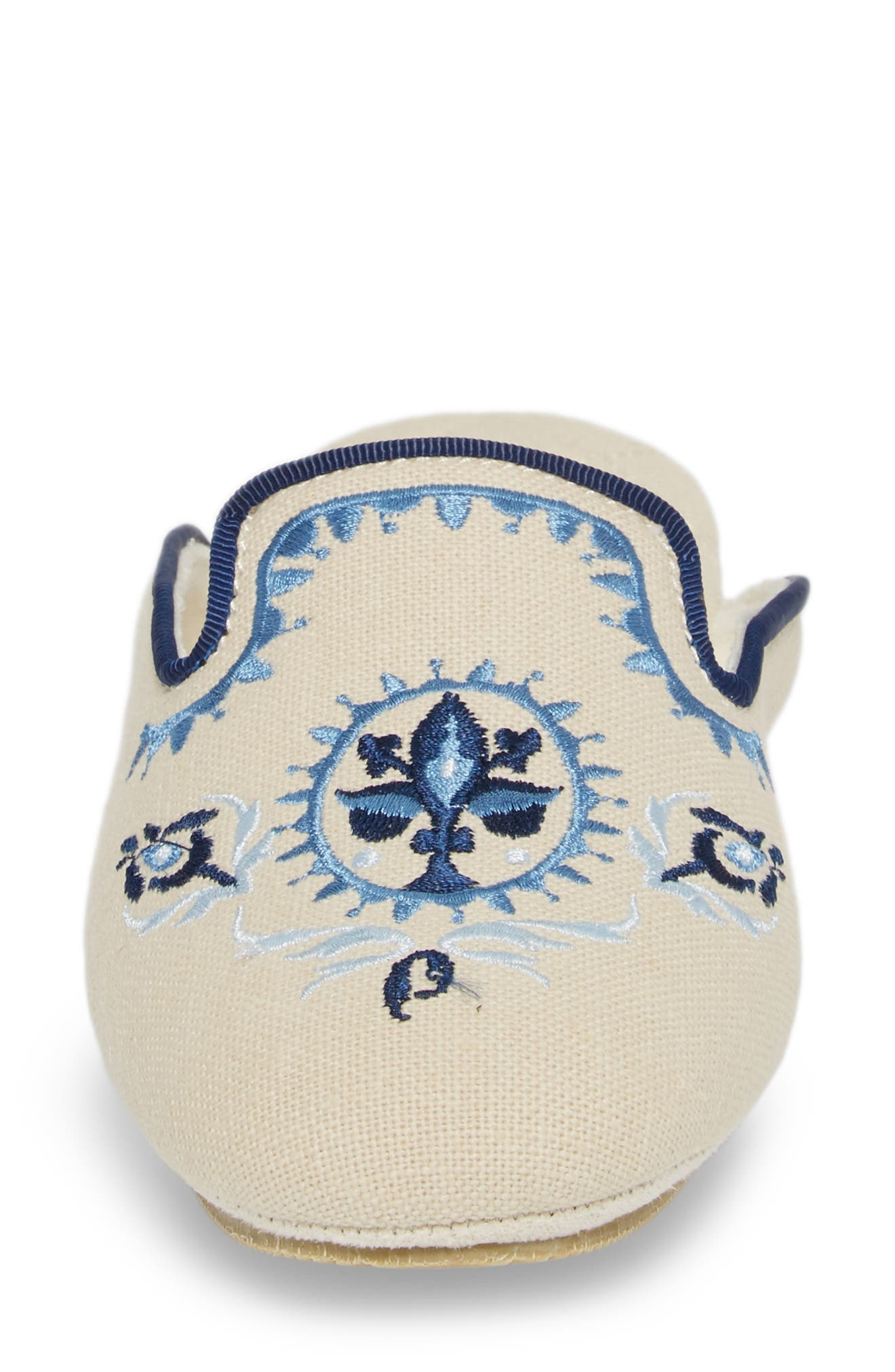 Rosa Embroidered Slipper,                             Alternate thumbnail 4, color,                             Blue Fabric