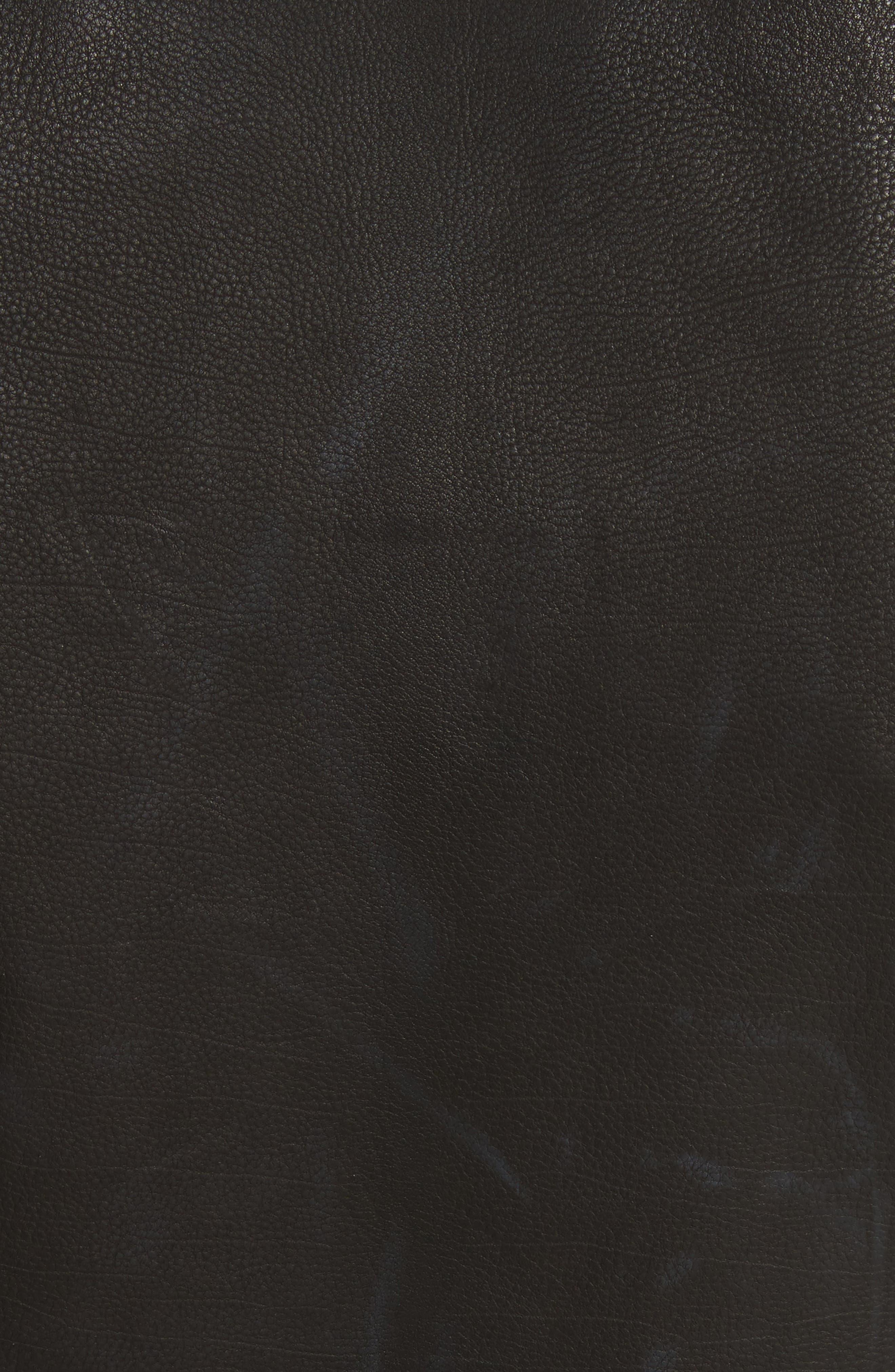 Calix Puff Shoulder Leather Moto Jacket,                             Alternate thumbnail 6, color,                             Black