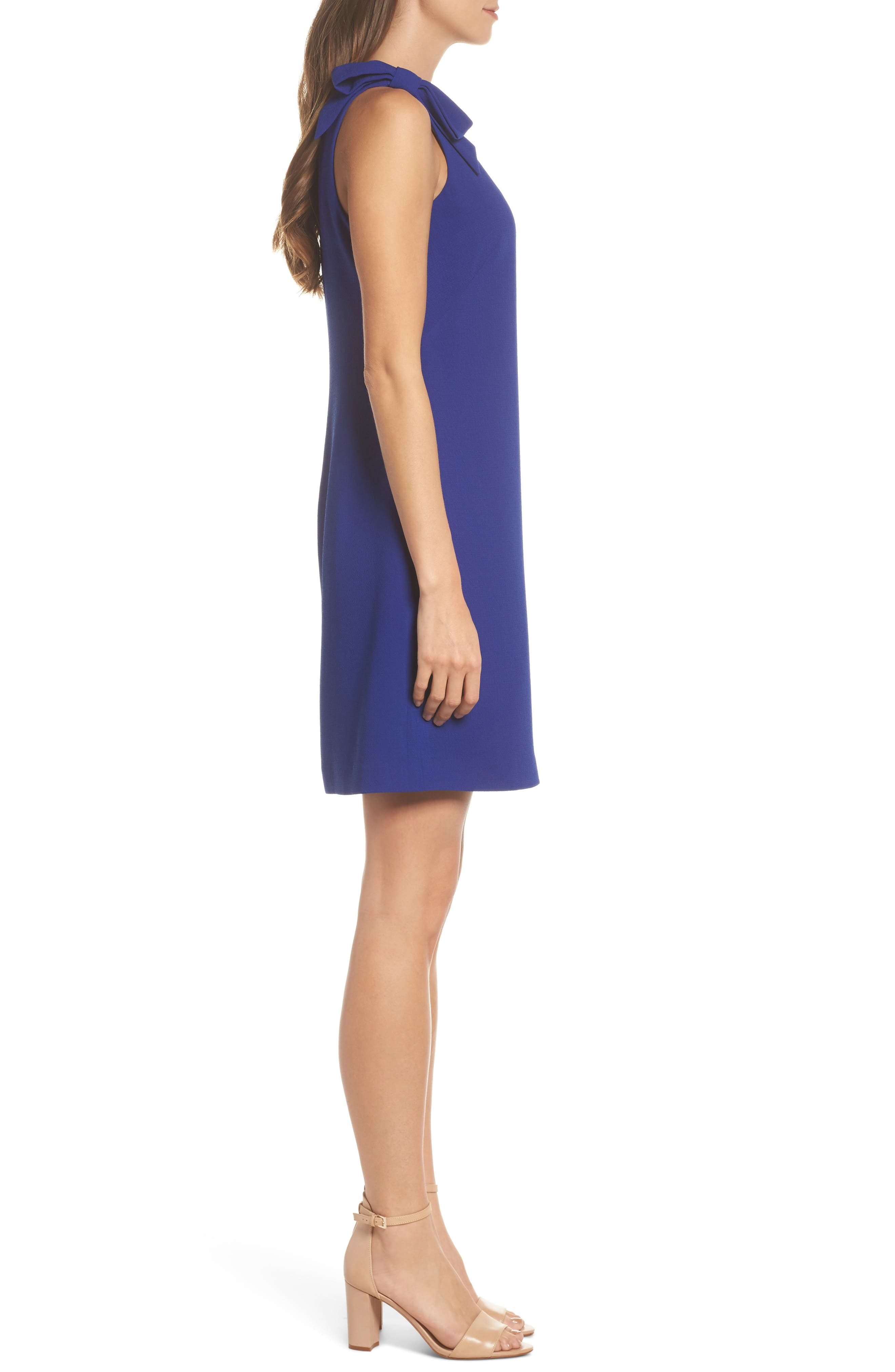 Bow Sheath Dress,                             Alternate thumbnail 3, color,                             Cobalt