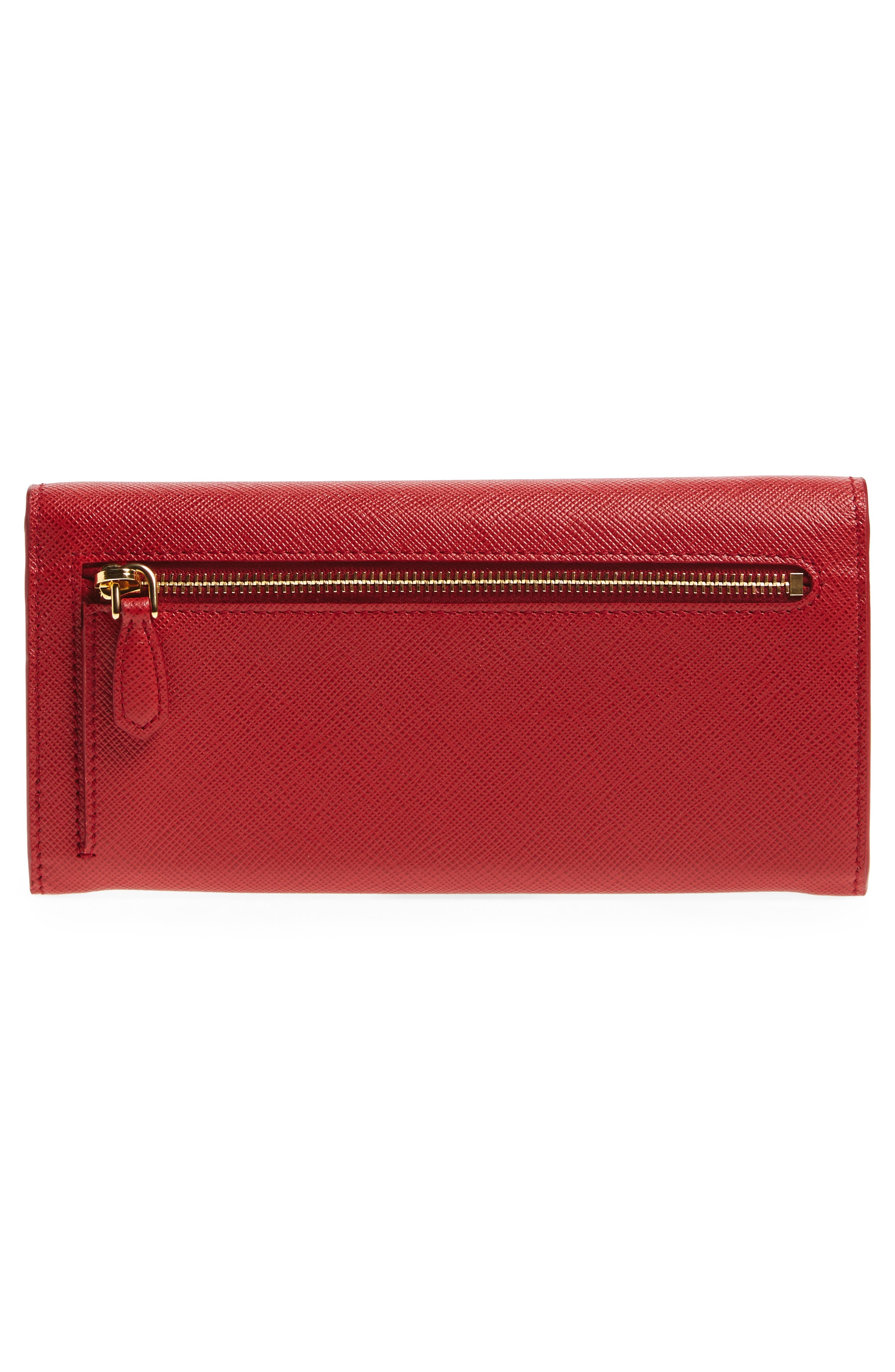 Saffiano Leather Wallet,                             Alternate thumbnail 3, color,                             Fuoco