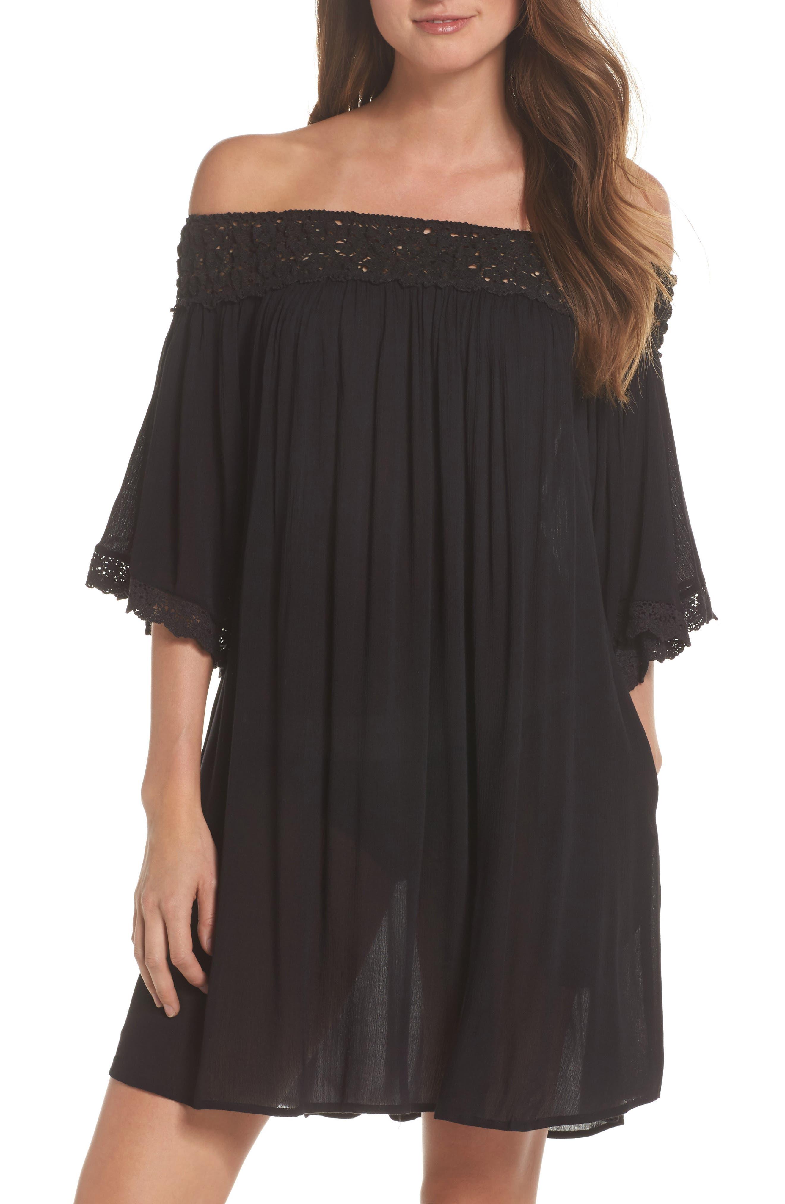 Rimini Crochet Cover-Up Dress,                         Main,                         color, Black