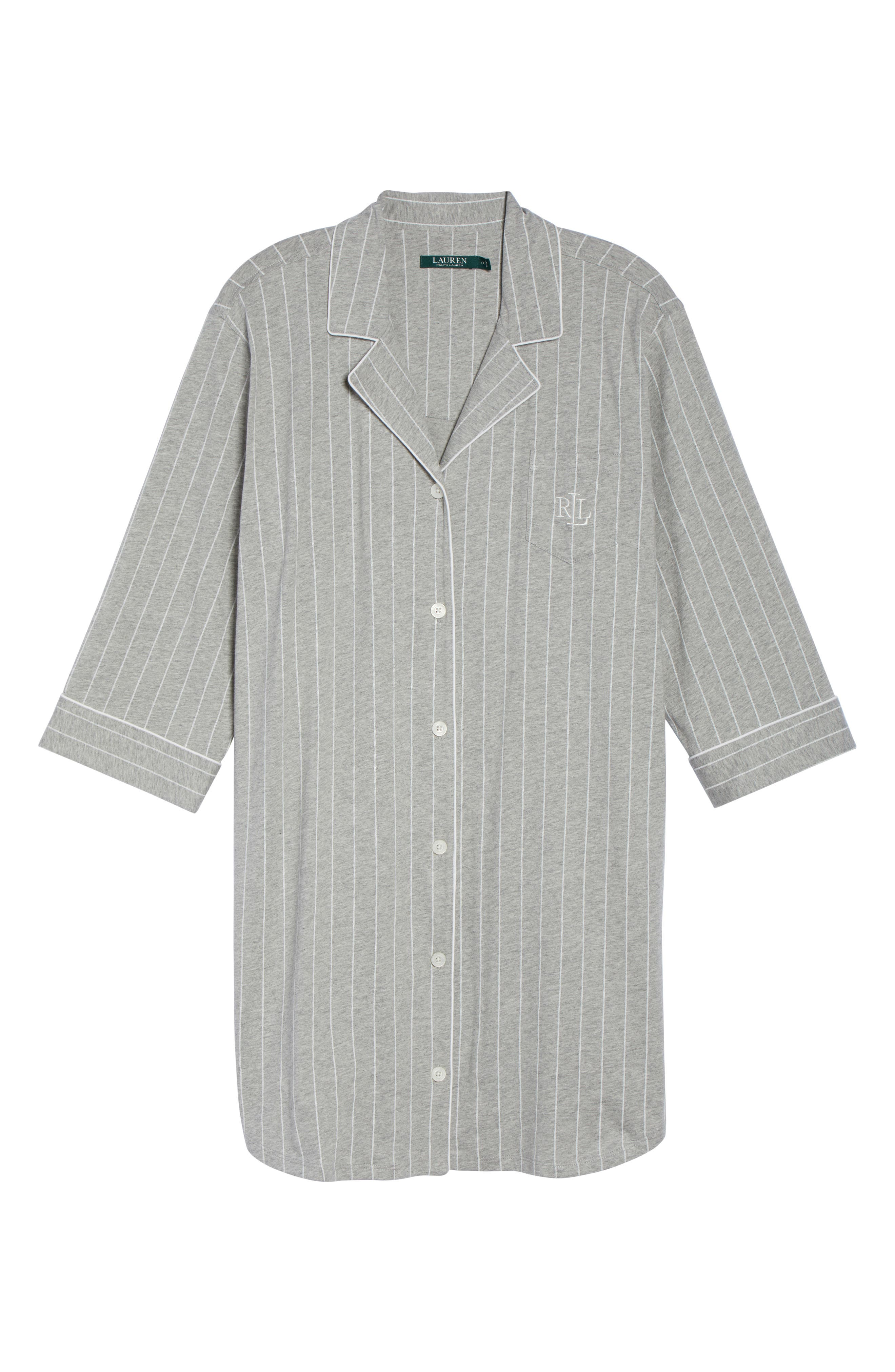 Knit Jersey Sleep Shirt,                             Alternate thumbnail 4, color,                             Greystone