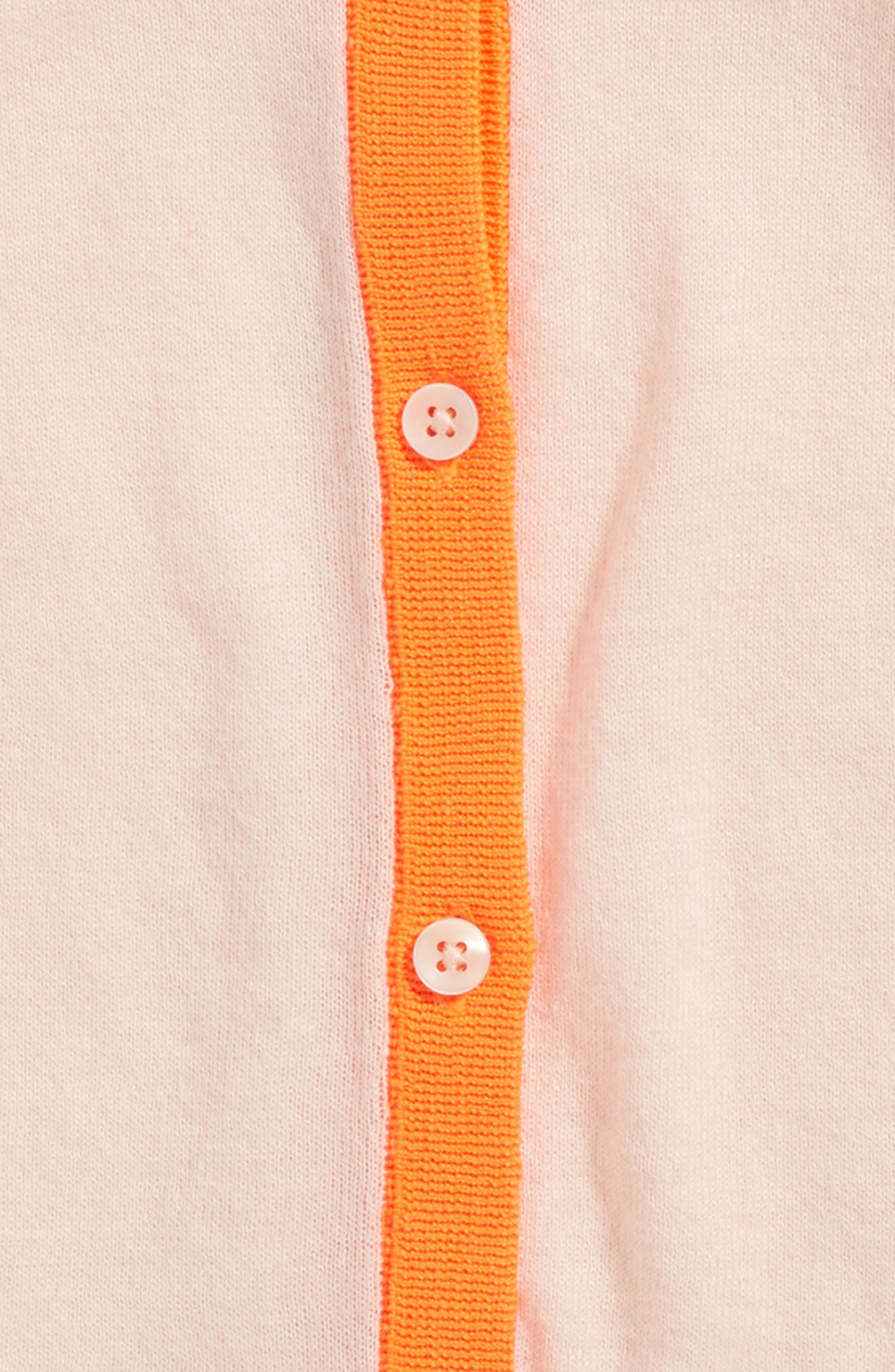 Contrast Trim Cardigan,                             Alternate thumbnail 2, color,                             Pink Cloud