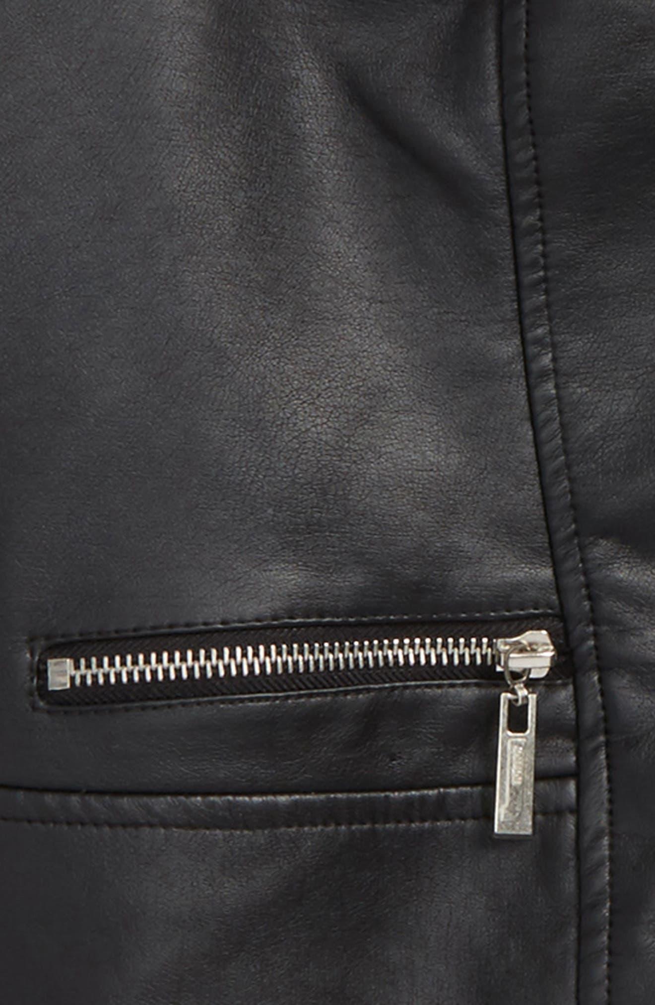 Alternate Image 2  - Jou Jou Faux Leather Moto Jacket (Big Girls)