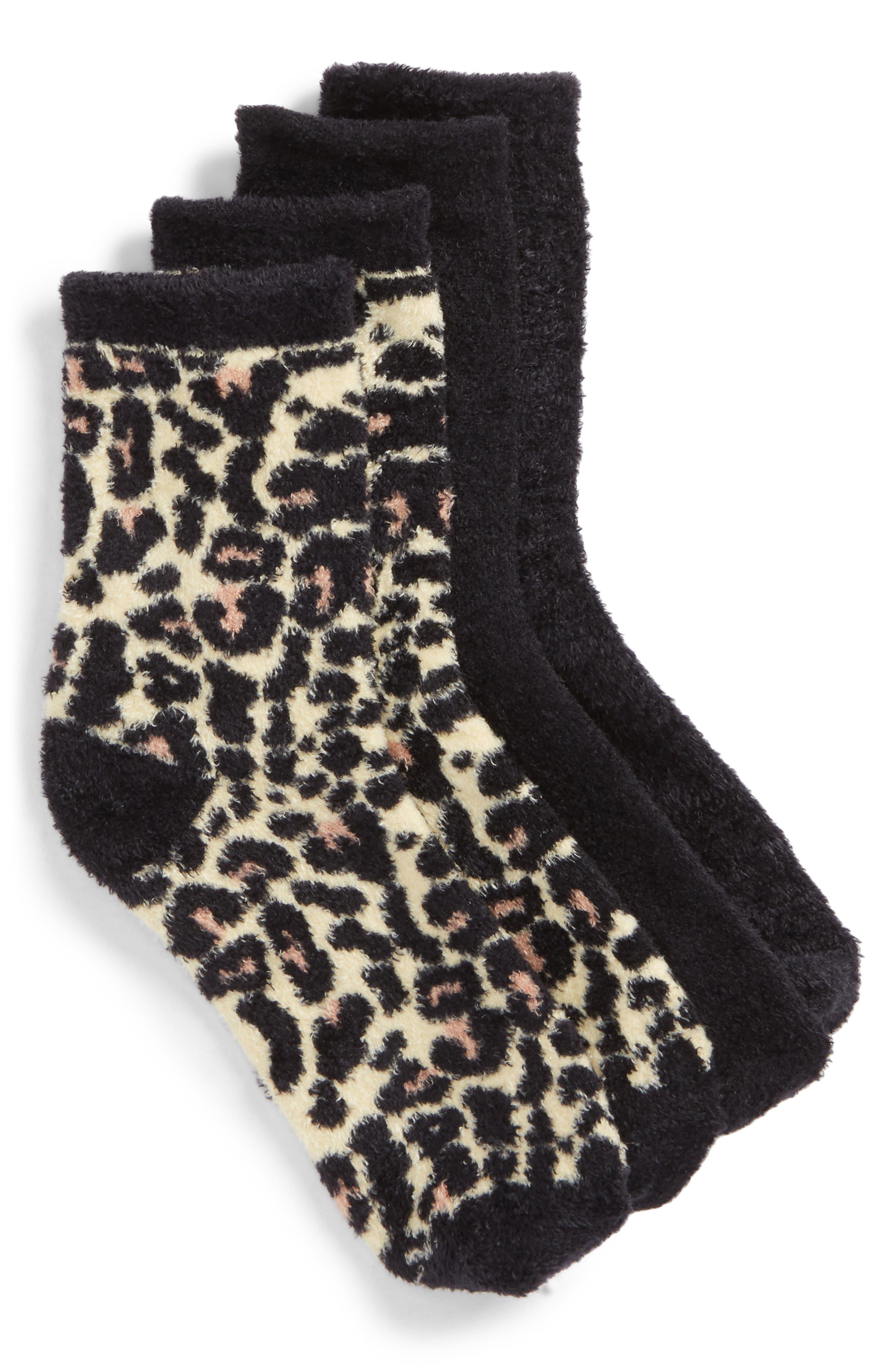 Assorted 2-Pack Butter Crew Socks,                         Main,                         color, Black/ Leopard