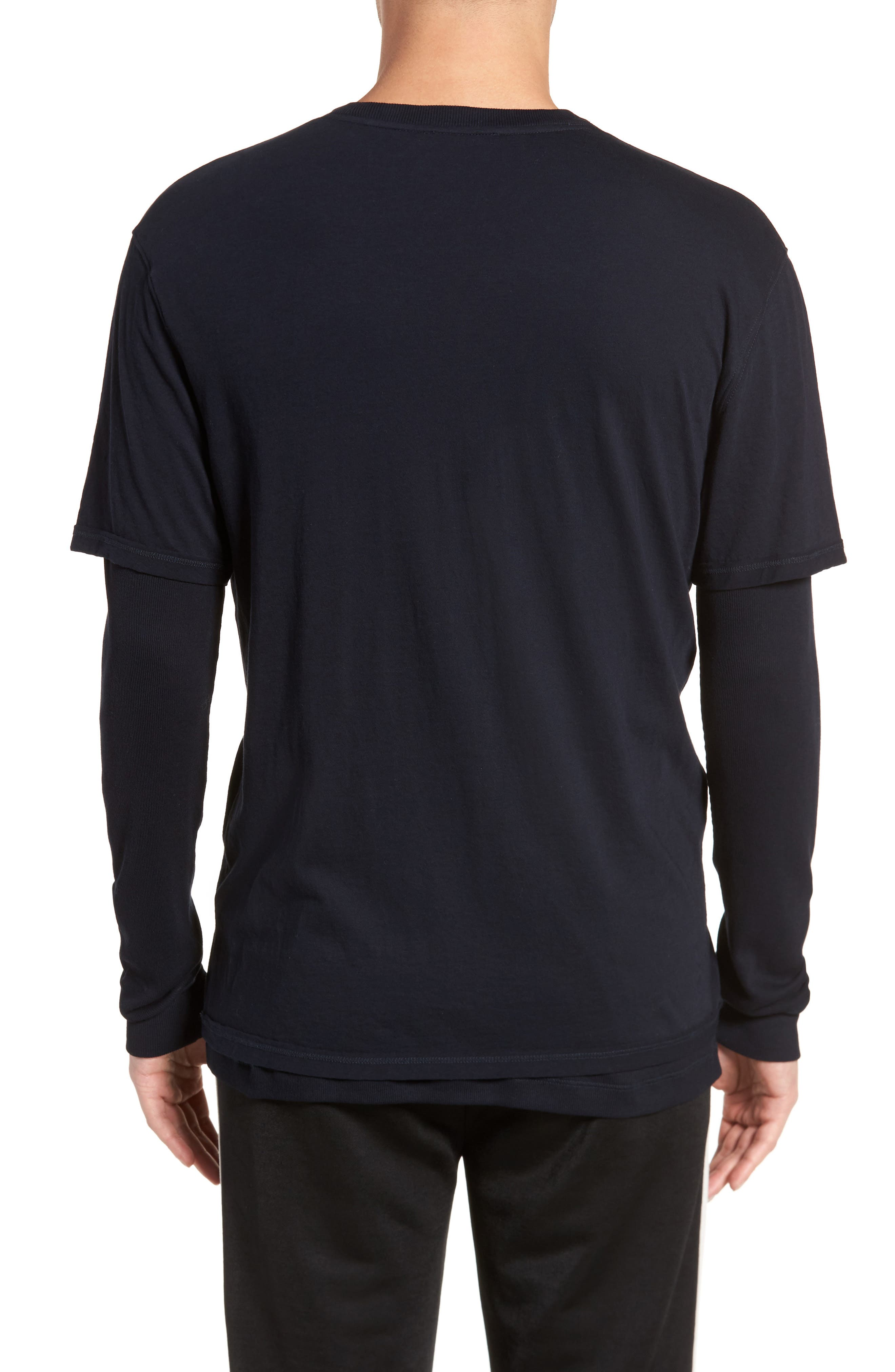 Layered Long Sleeve T-Shirt,                             Alternate thumbnail 2, color,                             Black