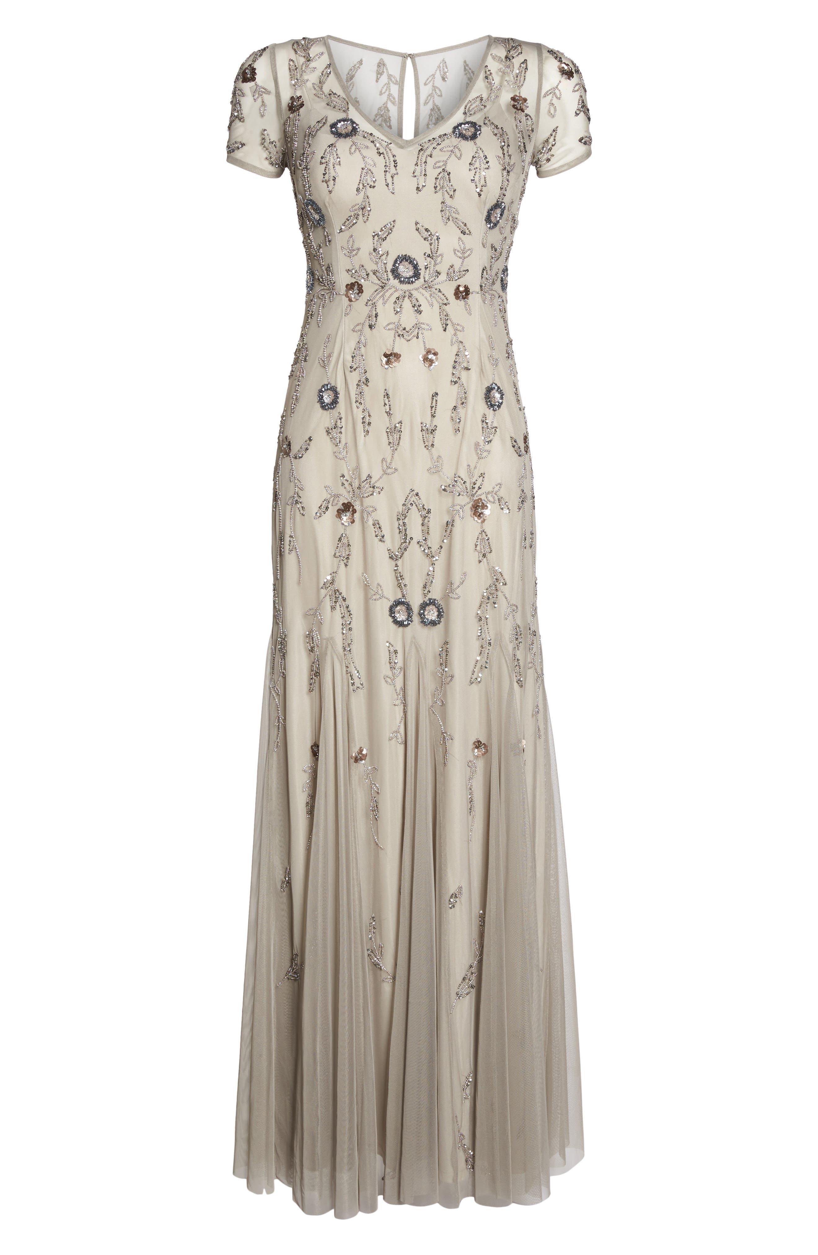 Floral Beaded Gown,                             Alternate thumbnail 6, color,                             Platinum