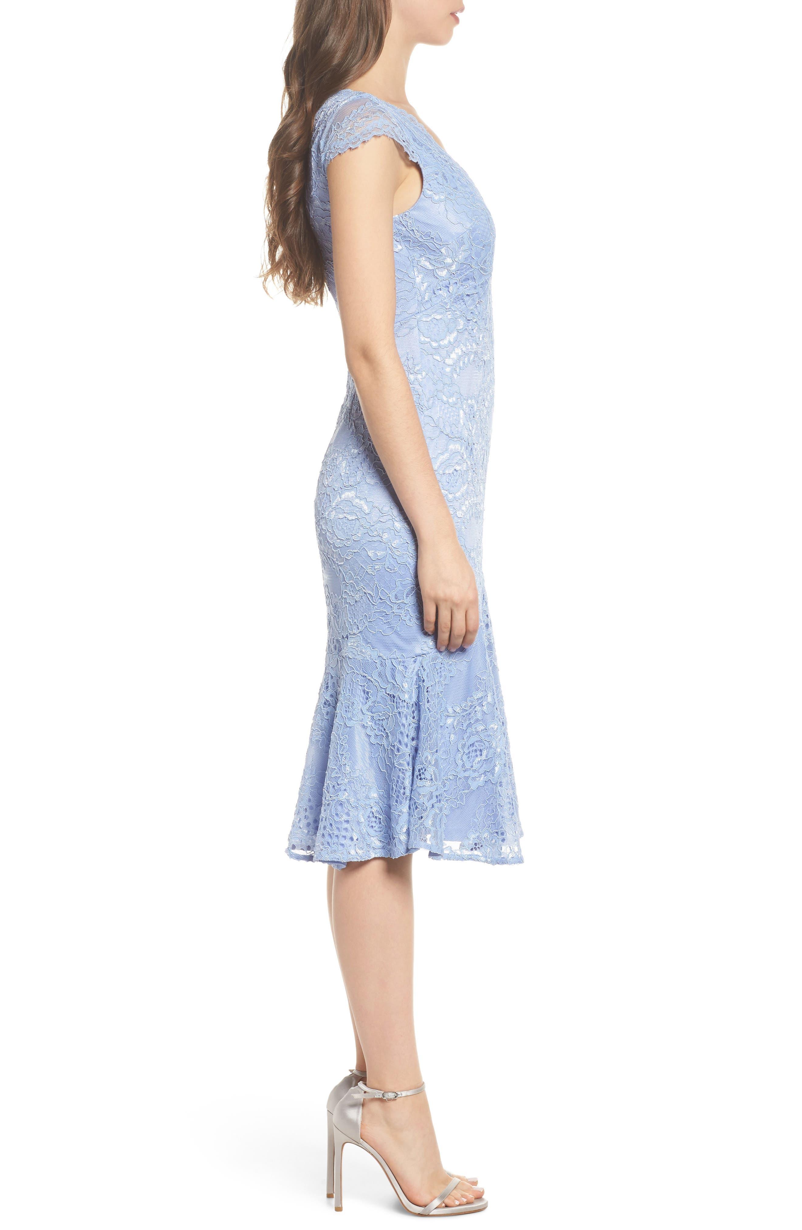 Flounce Hem Lace Dress,                             Alternate thumbnail 3, color,                             Blue Lavender