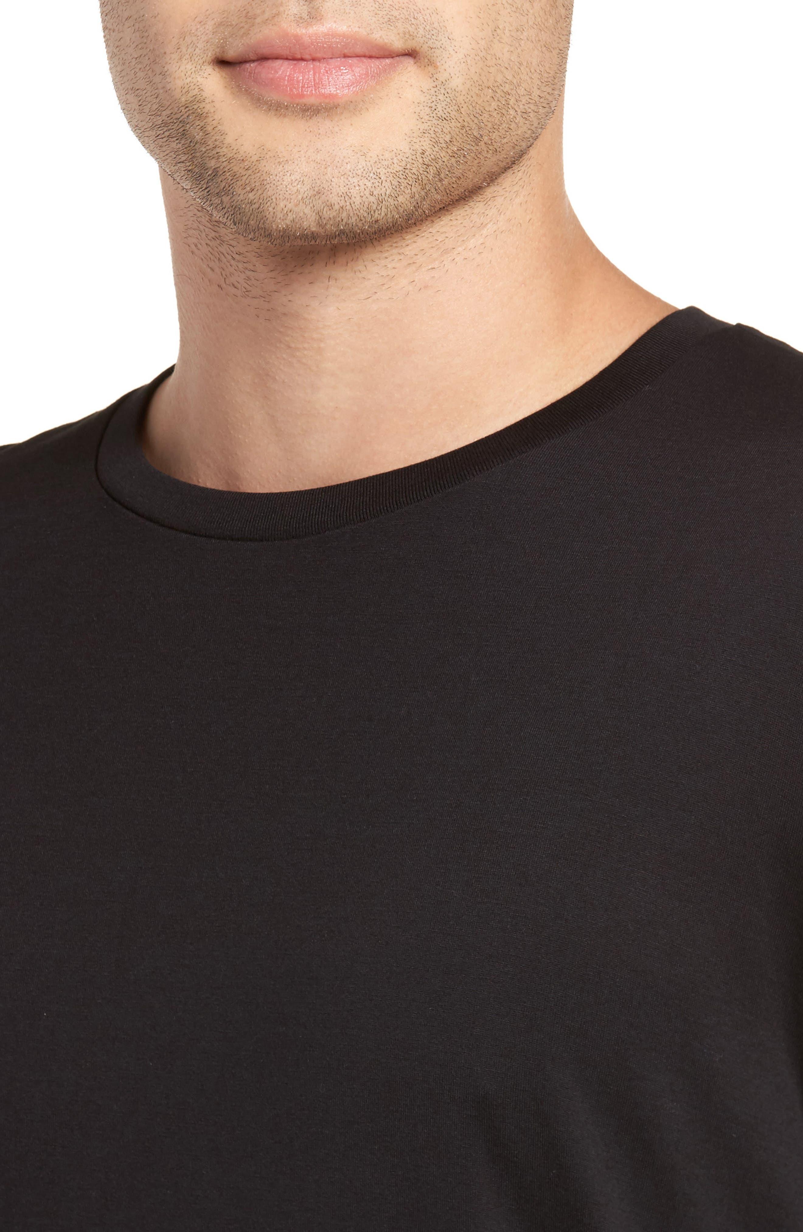 Drop Hem Crewneck T-Shirt,                             Alternate thumbnail 4, color,                             Black
