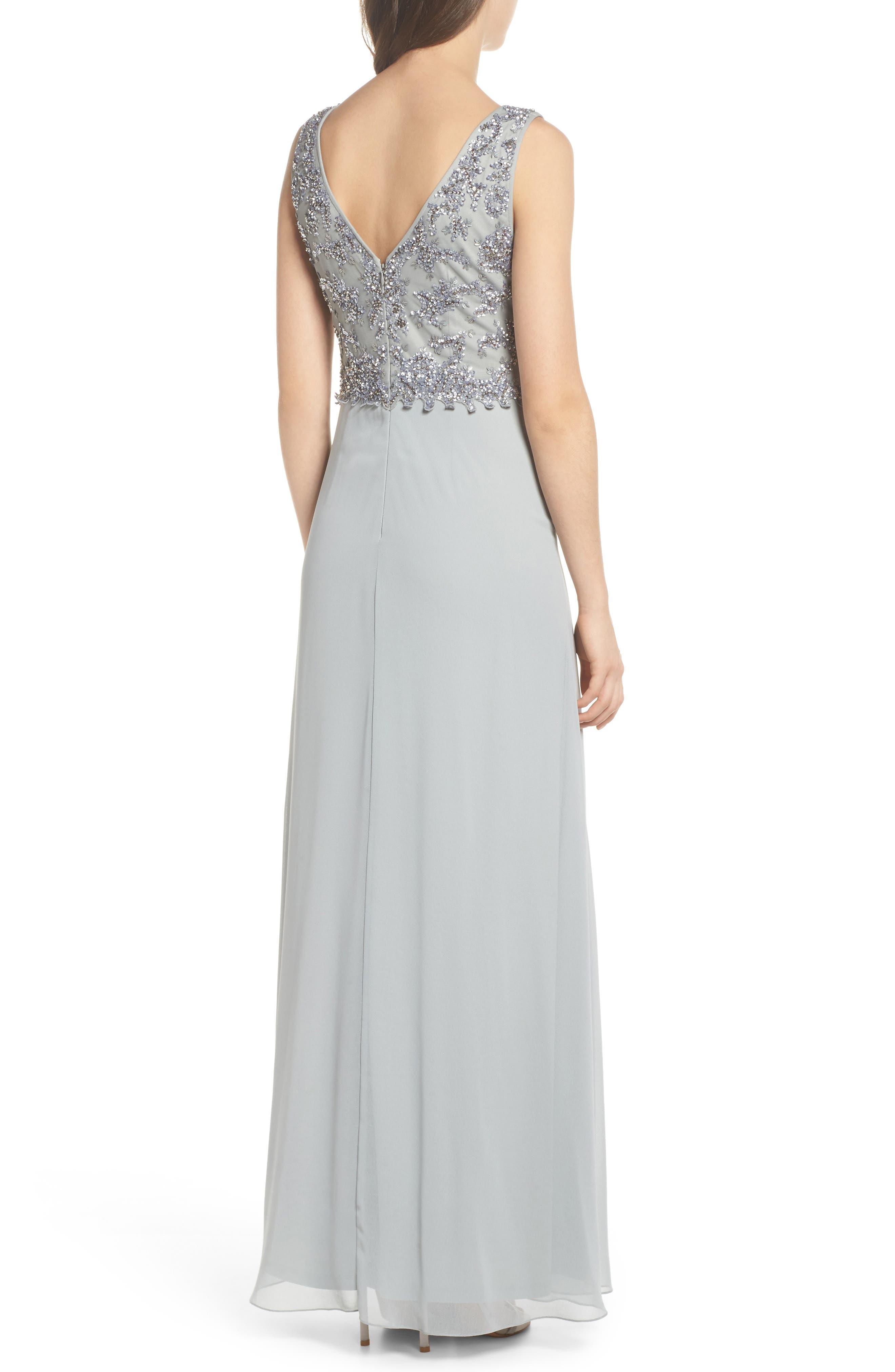 Embellished Mesh Bodice Gown,                             Alternate thumbnail 2, color,                             Blue Mist