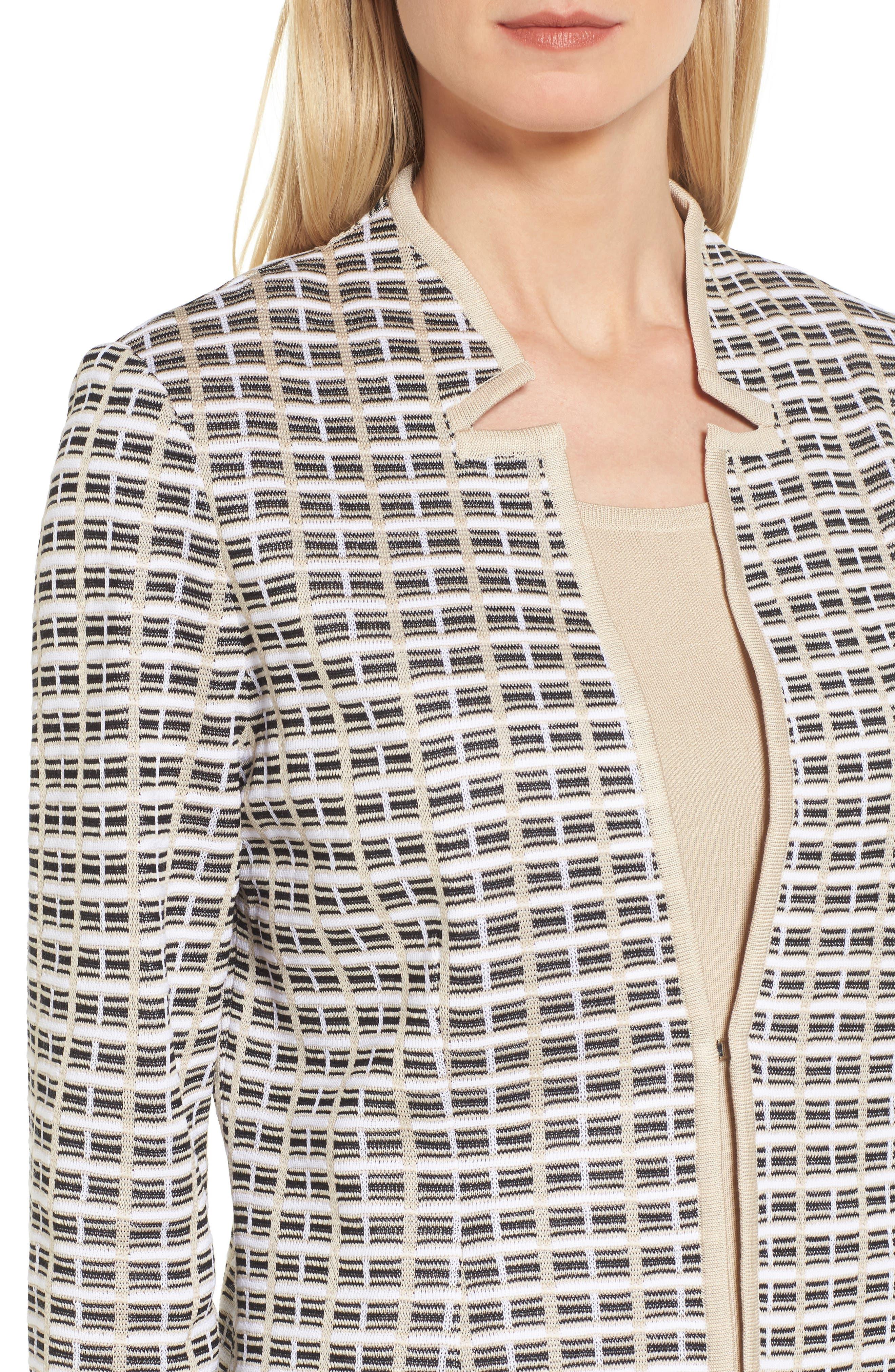Geometric Jacquard Jacket,                             Alternate thumbnail 4, color,                             Twig/ Black/ White
