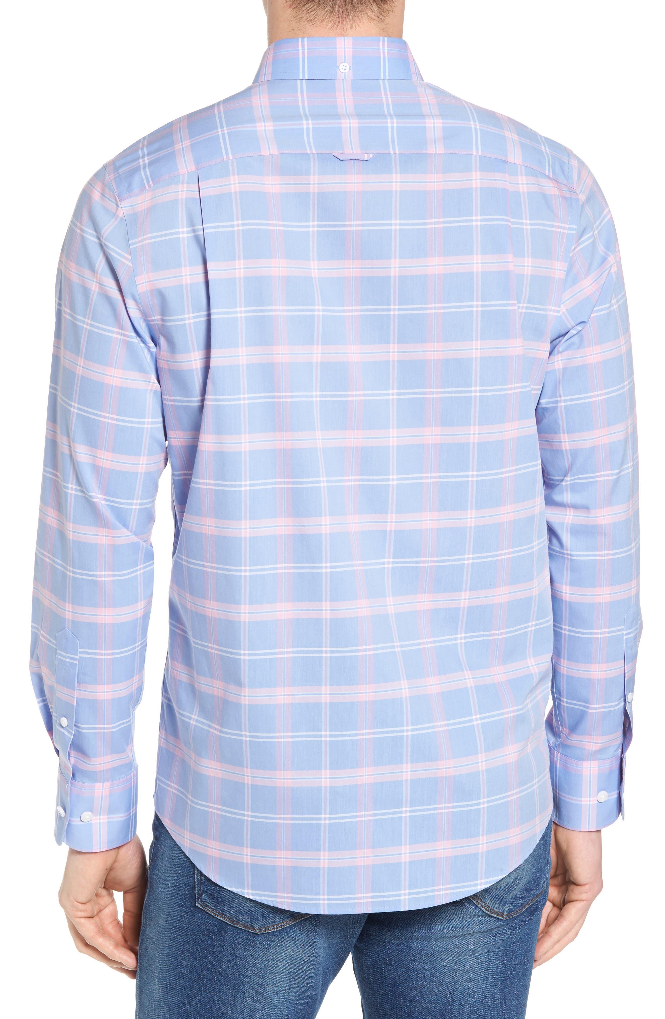 Smartcare<sup>™</sup> Regular Fit Plaid Sport Shirt,                             Alternate thumbnail 3, color,                             Blue Dusk Pink Plaid