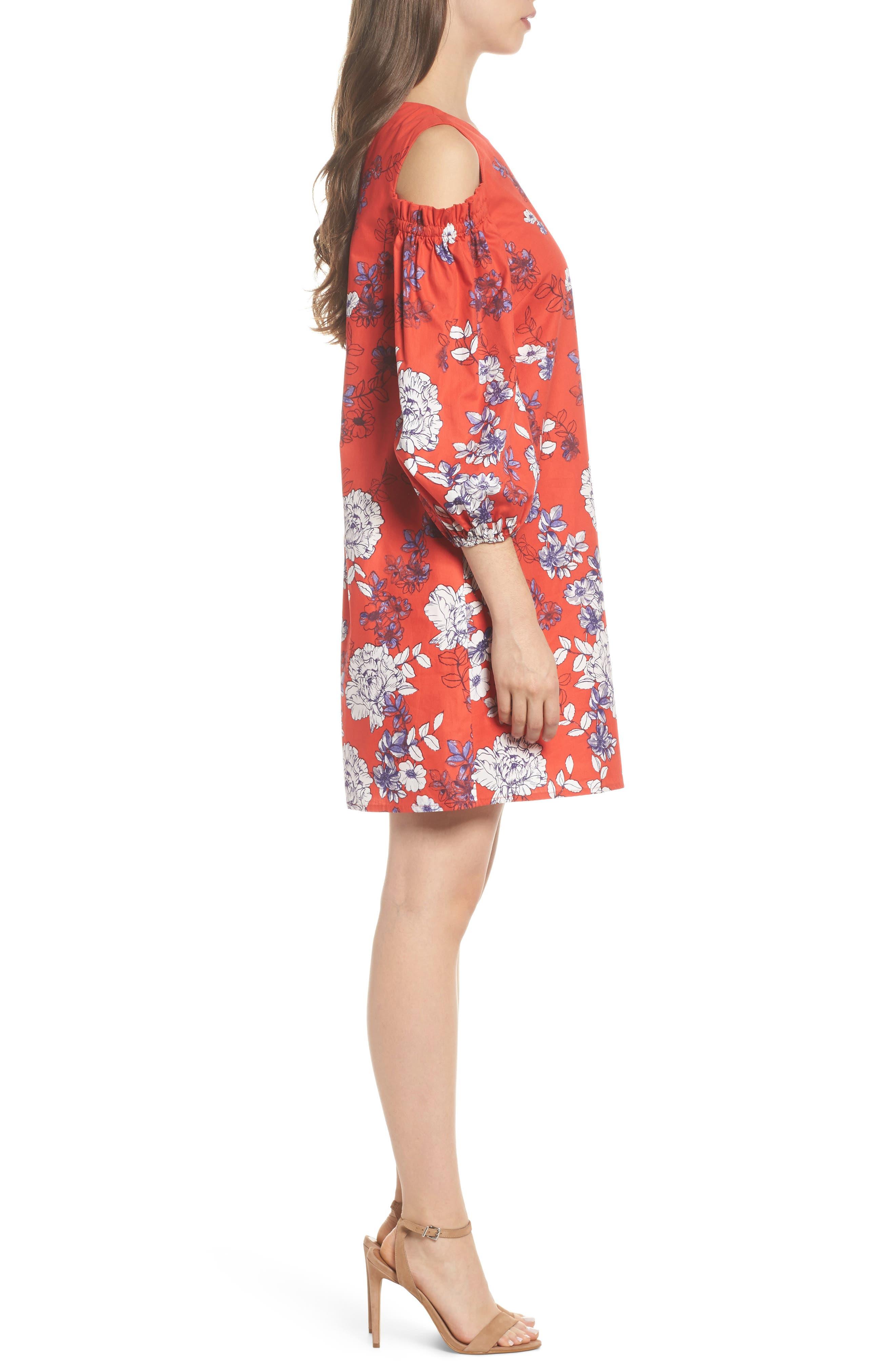 Print Sateen Cold Shoulder Shift Dress,                             Alternate thumbnail 3, color,                             Red/ Blue