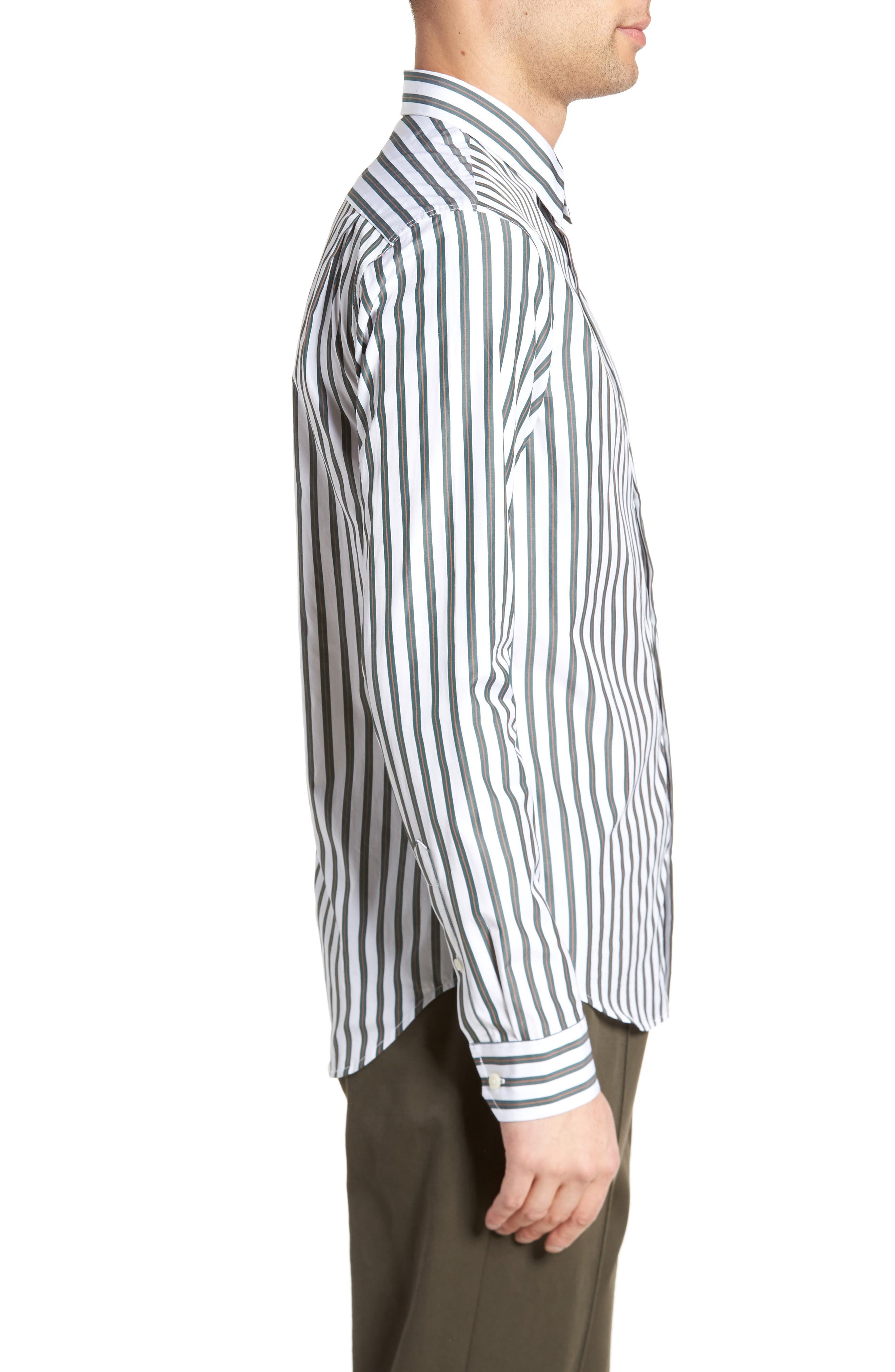 Stripe Sport Shirt,                             Alternate thumbnail 3, color,                             White/ Pine Grove