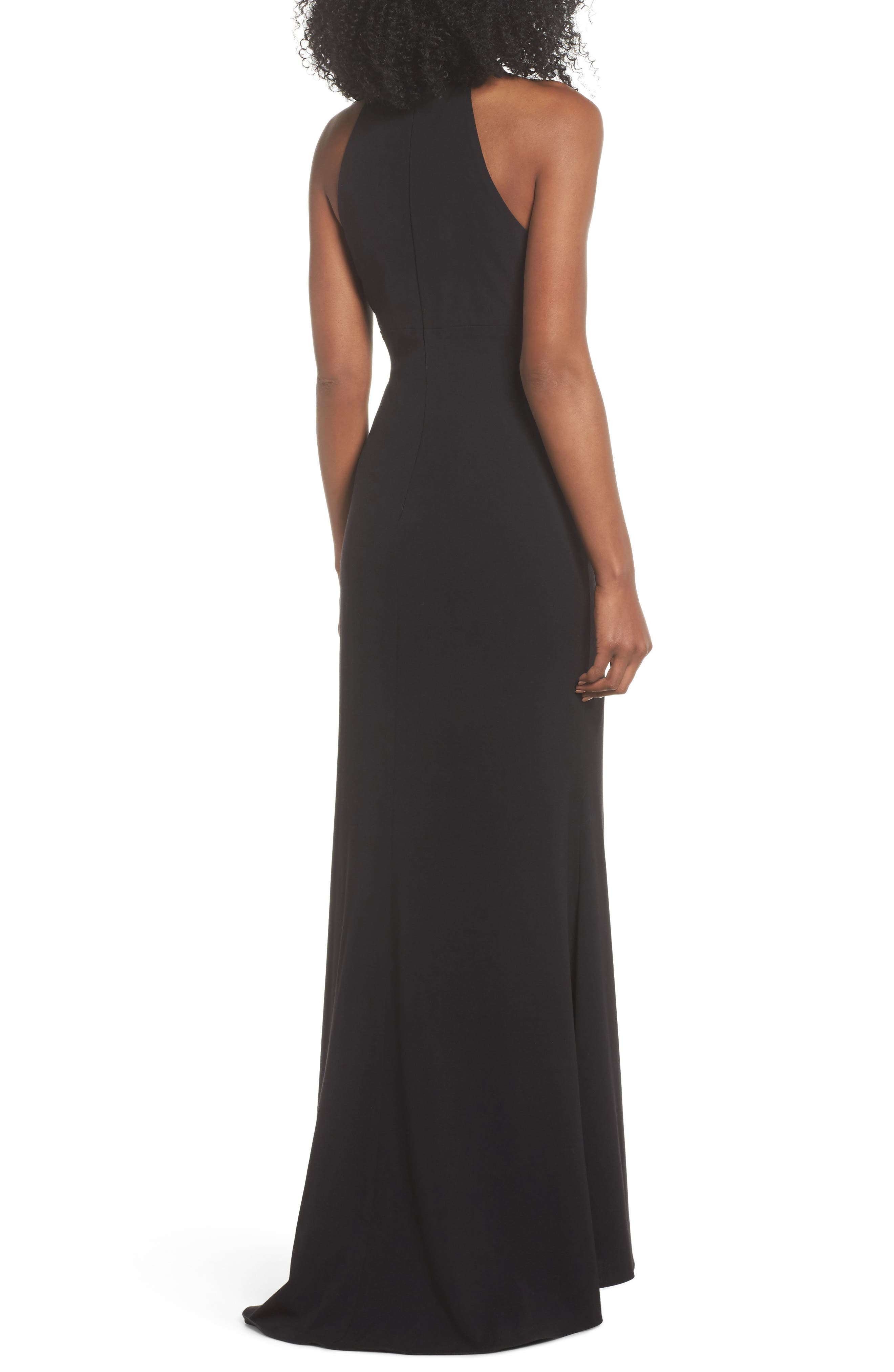 Side Pleat Crossneck Gown,                             Alternate thumbnail 2, color,                             Black