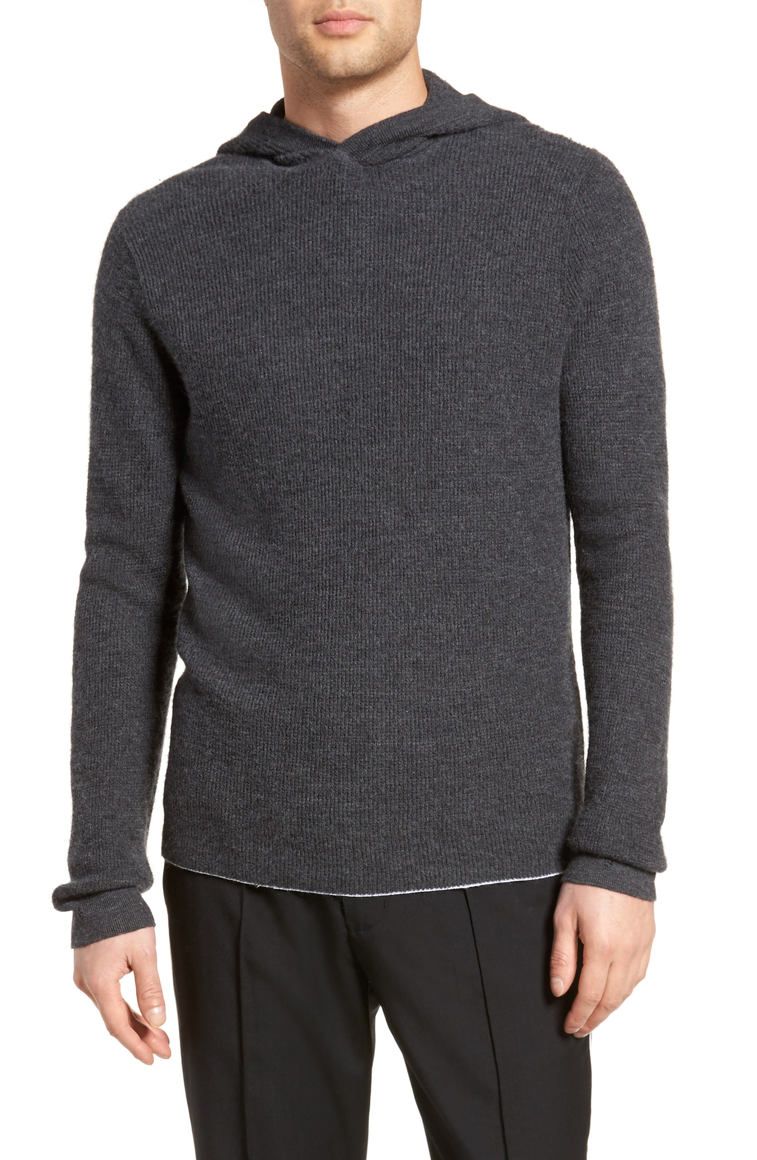 Thermal Knit Cashmere Hooded Sweater,                         Main,                         color, H Shadow