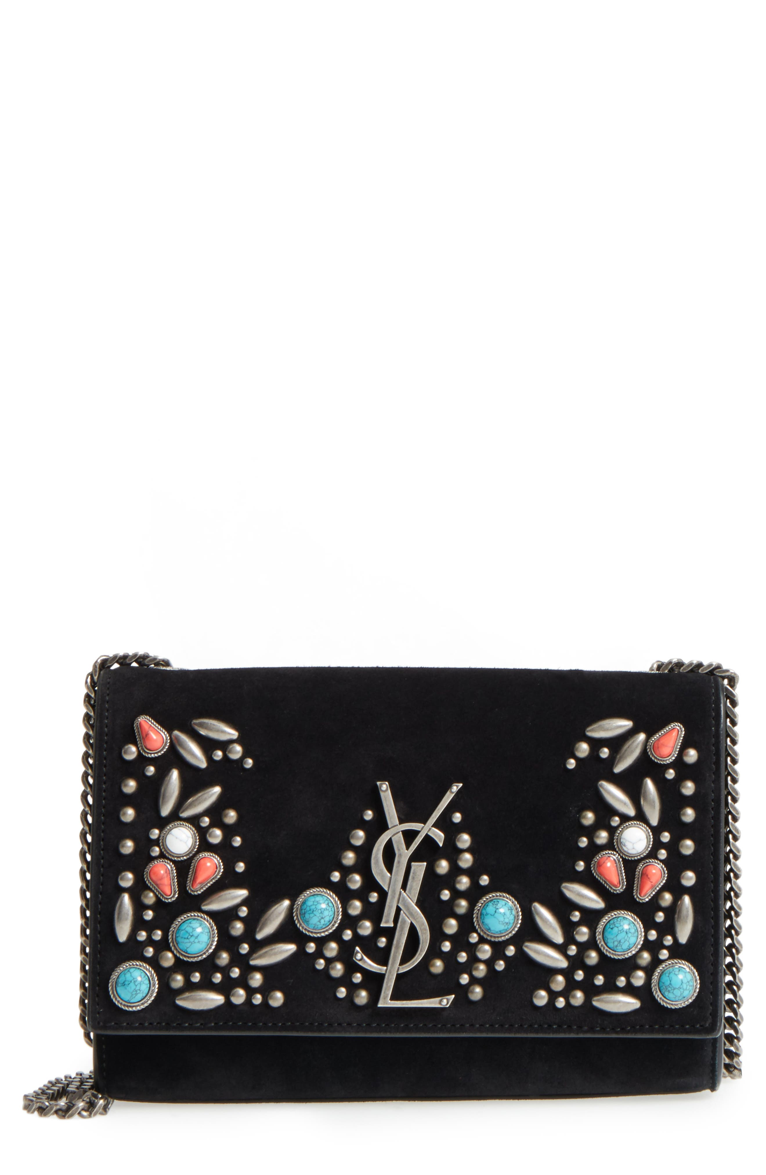 Small Kate Studded Leather Crossbody Bag,                             Main thumbnail 1, color,                             Noir Multi