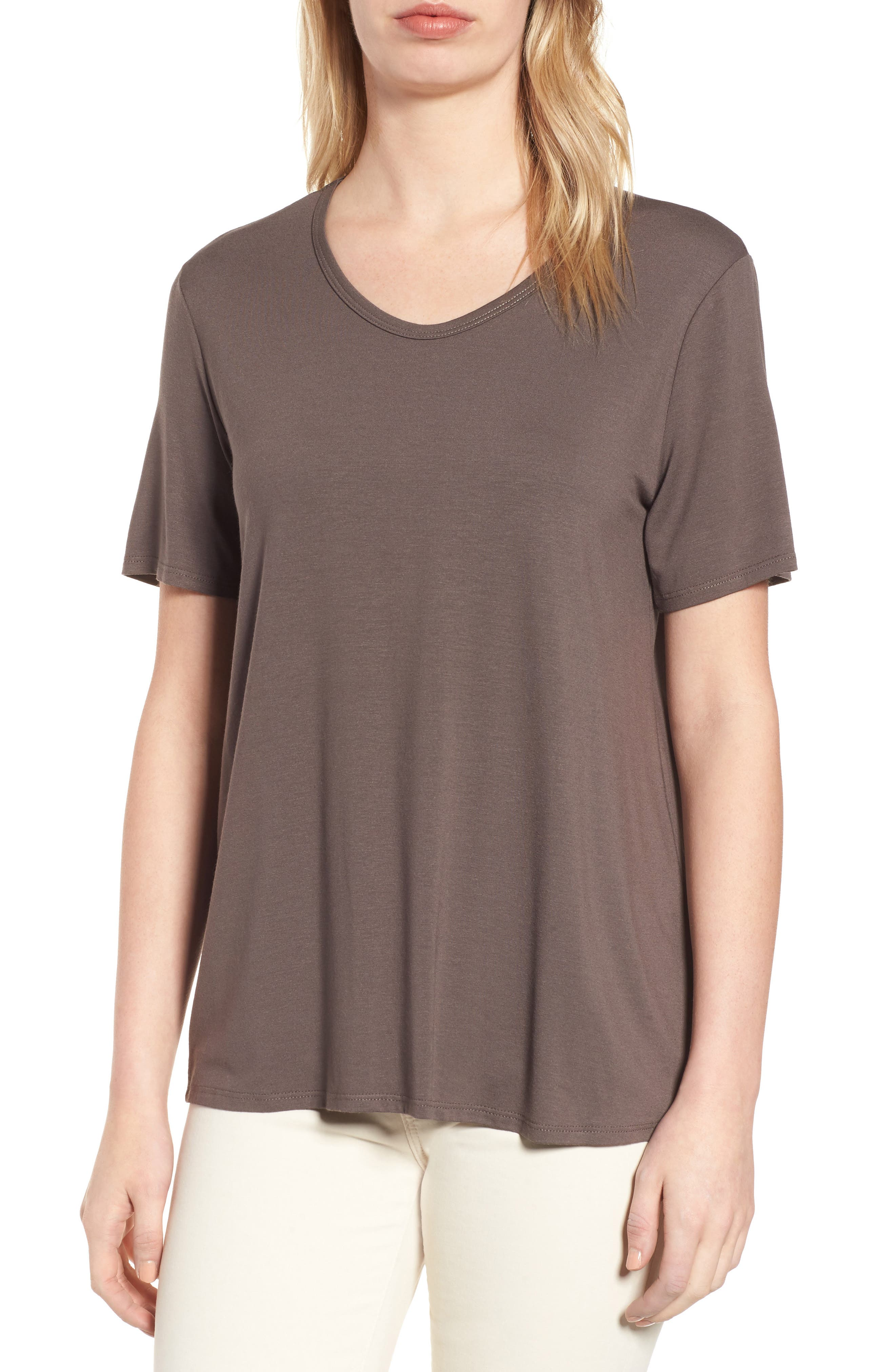 Eileen Fisher Soft V-Neck Tee (Regular & Petite)