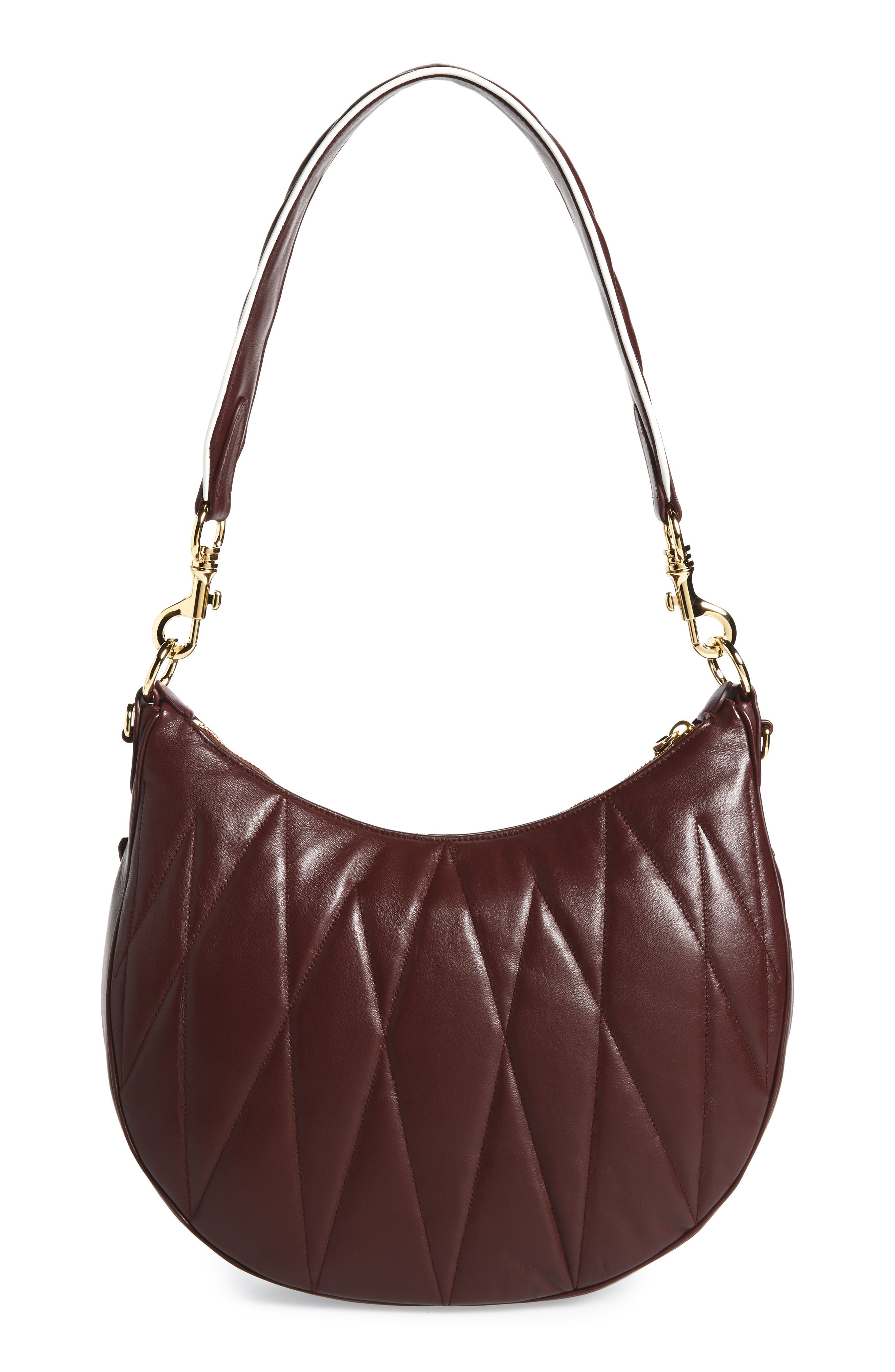 Large Rider Matelassé Leather Shoulder Bag,                             Alternate thumbnail 4, color,                             Granato/ Rosa