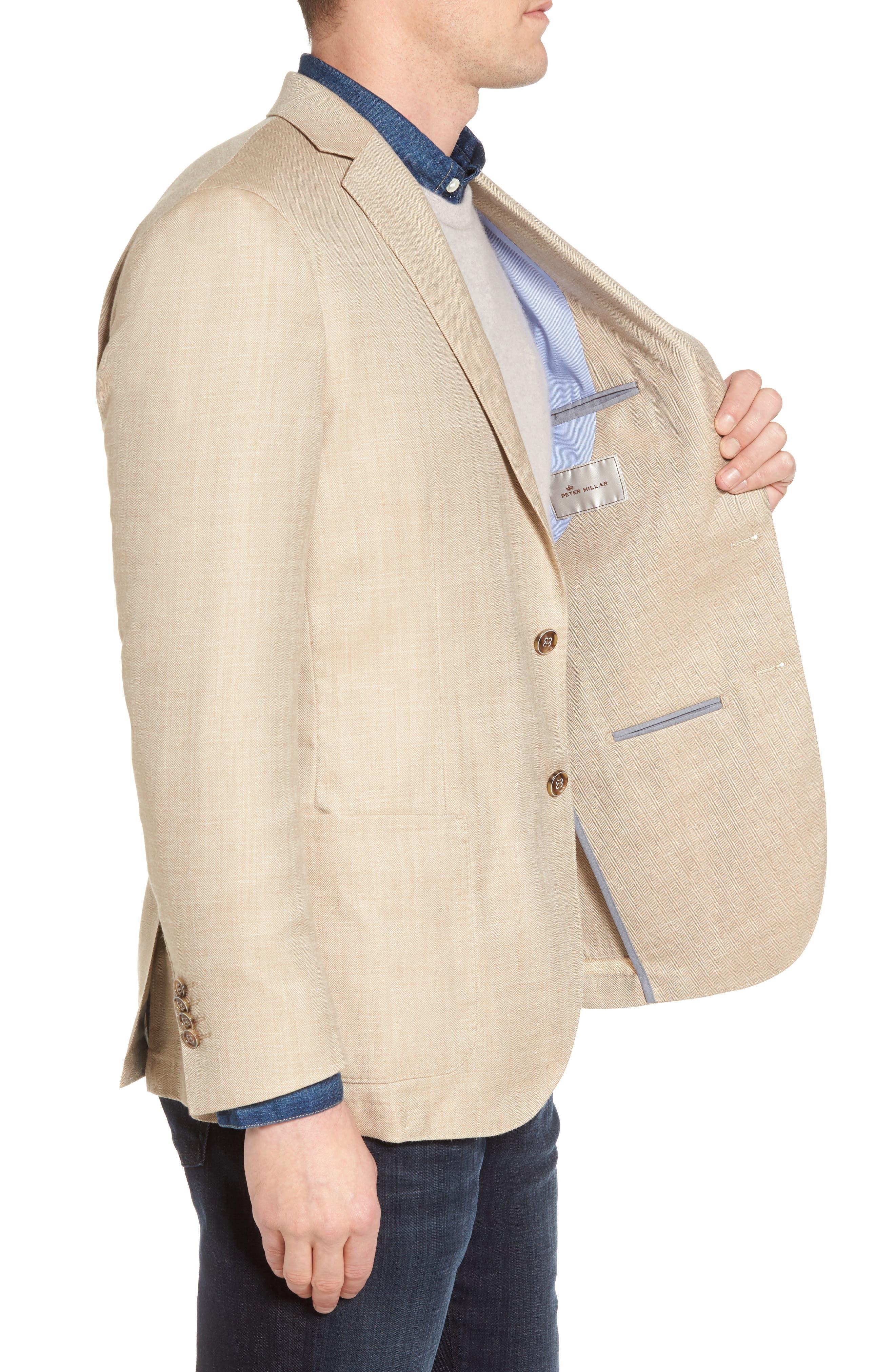 Crown Herringbone Wool & Silk Blend Jacket,                             Alternate thumbnail 3, color,                             Stone