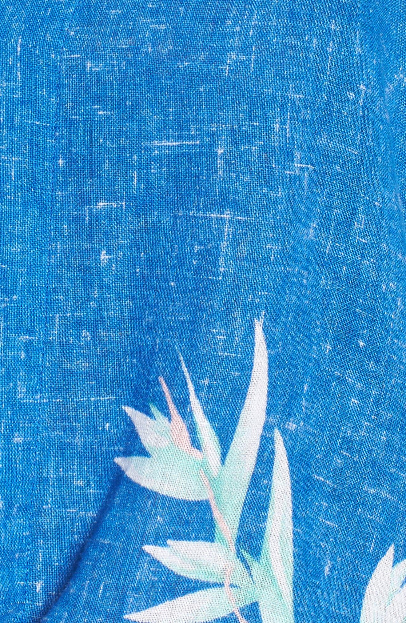 Thea Tie Front Crop Top,                             Alternate thumbnail 5, color,                             Birds Of Paradise