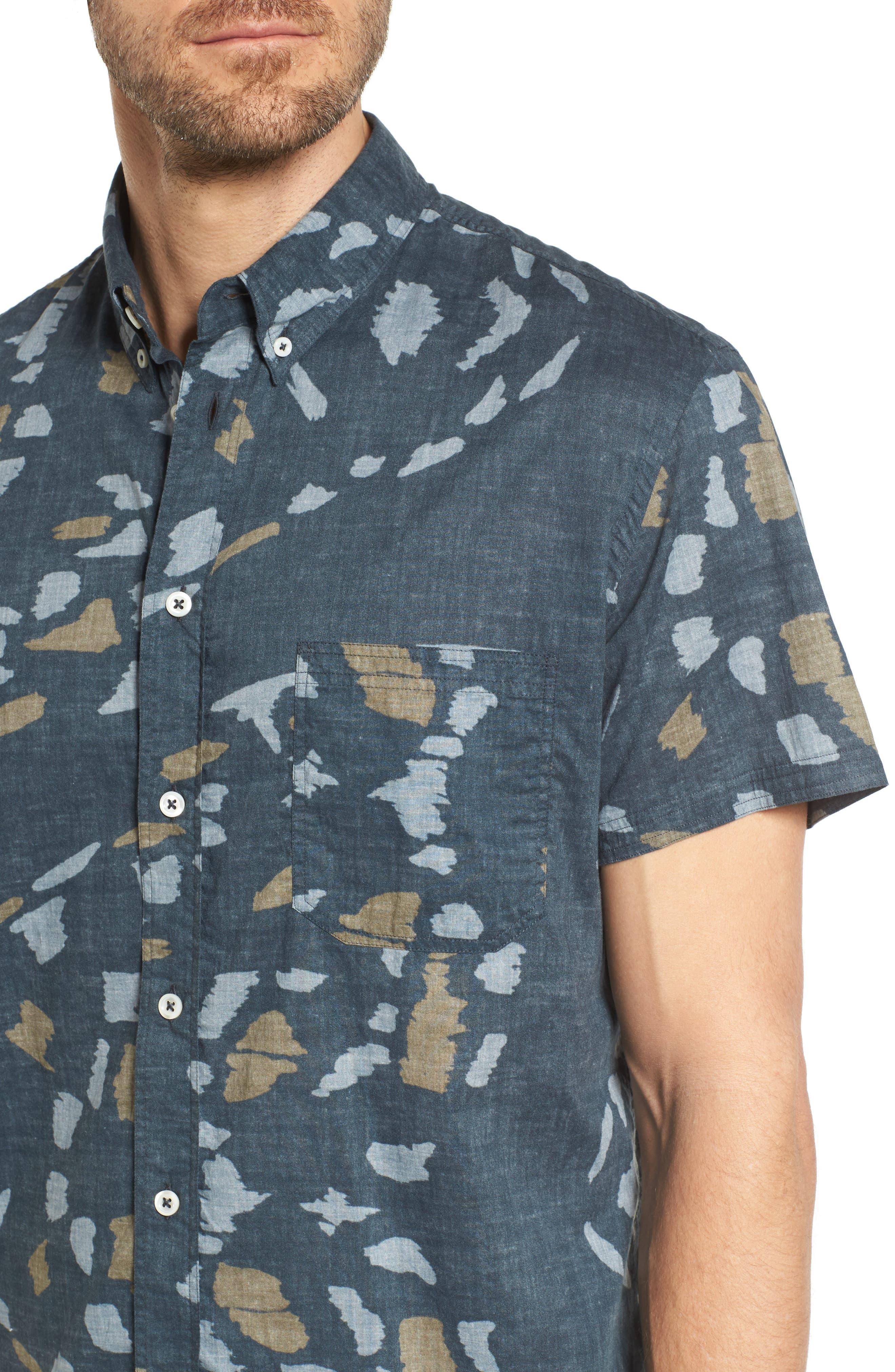 Tuscumbia Slim Fit Sport Shirt,                             Alternate thumbnail 4, color,                             Navy