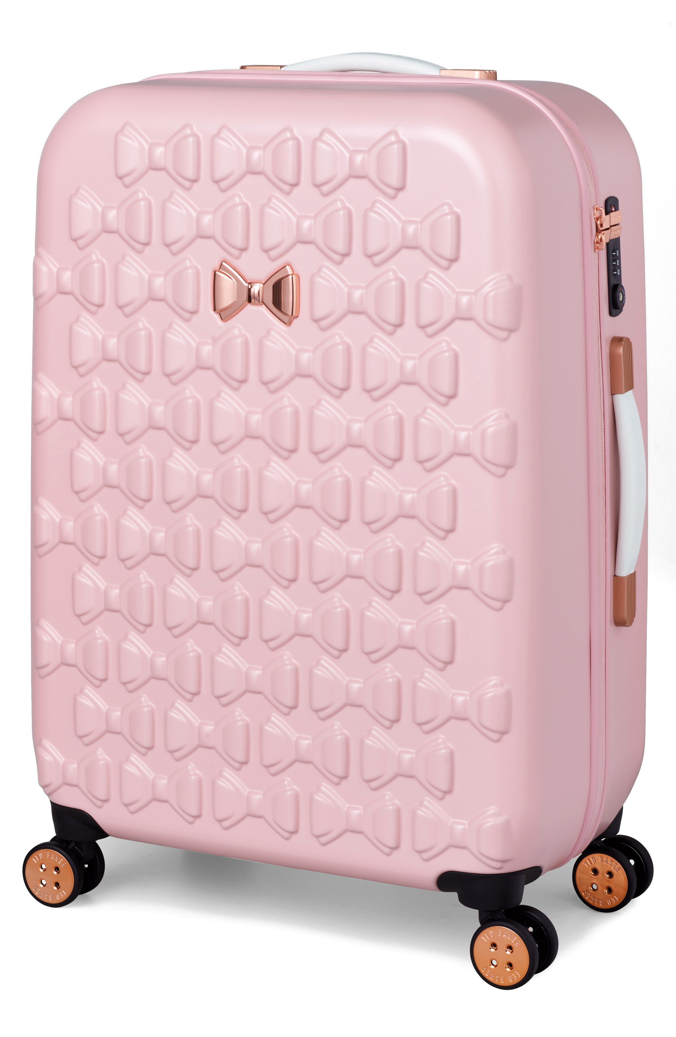 Medium Beau Bow Embossed Four-Wheel 27-Inch Trolley Suitcase,                             Main thumbnail 1, color,                             Pink