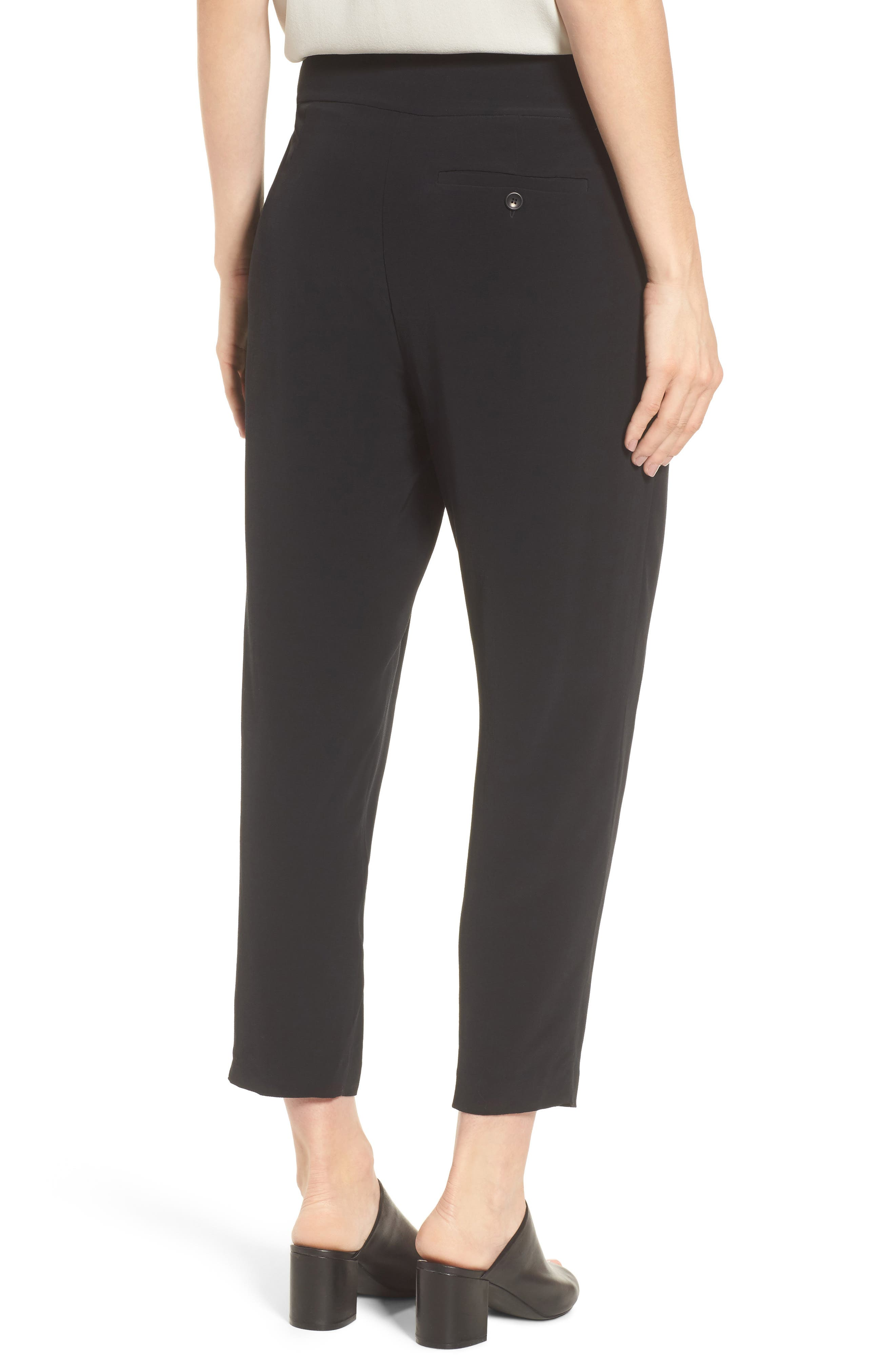 Slouchy Tencel<sup>®</sup> Lyocell Blend Crop Pants,                             Alternate thumbnail 2, color,                             Black