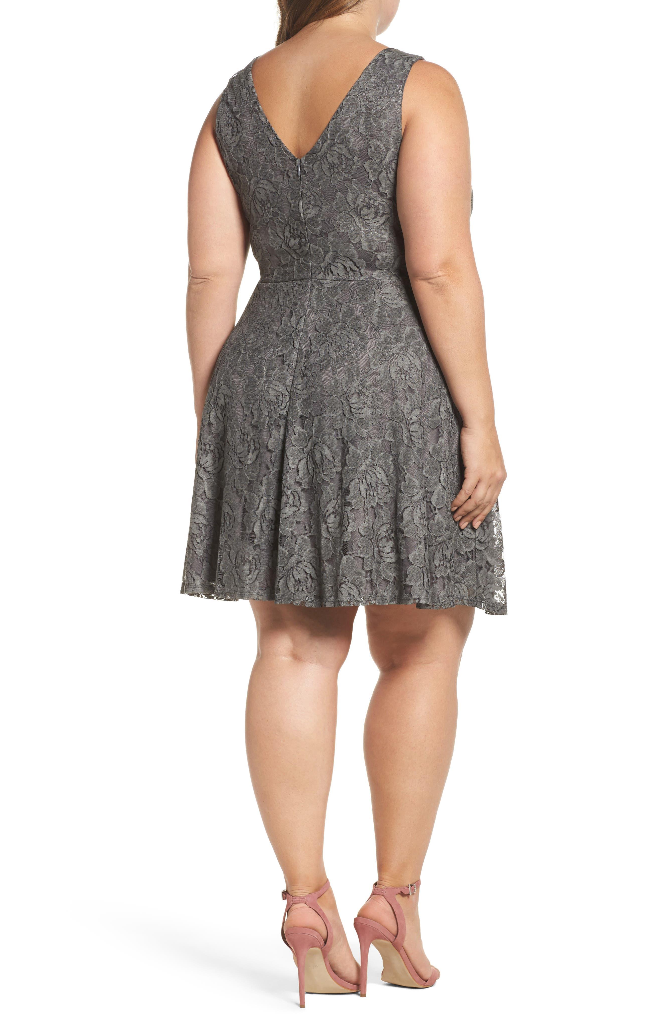 Lace Skater Dress,                             Alternate thumbnail 2, color,                             Charcoal