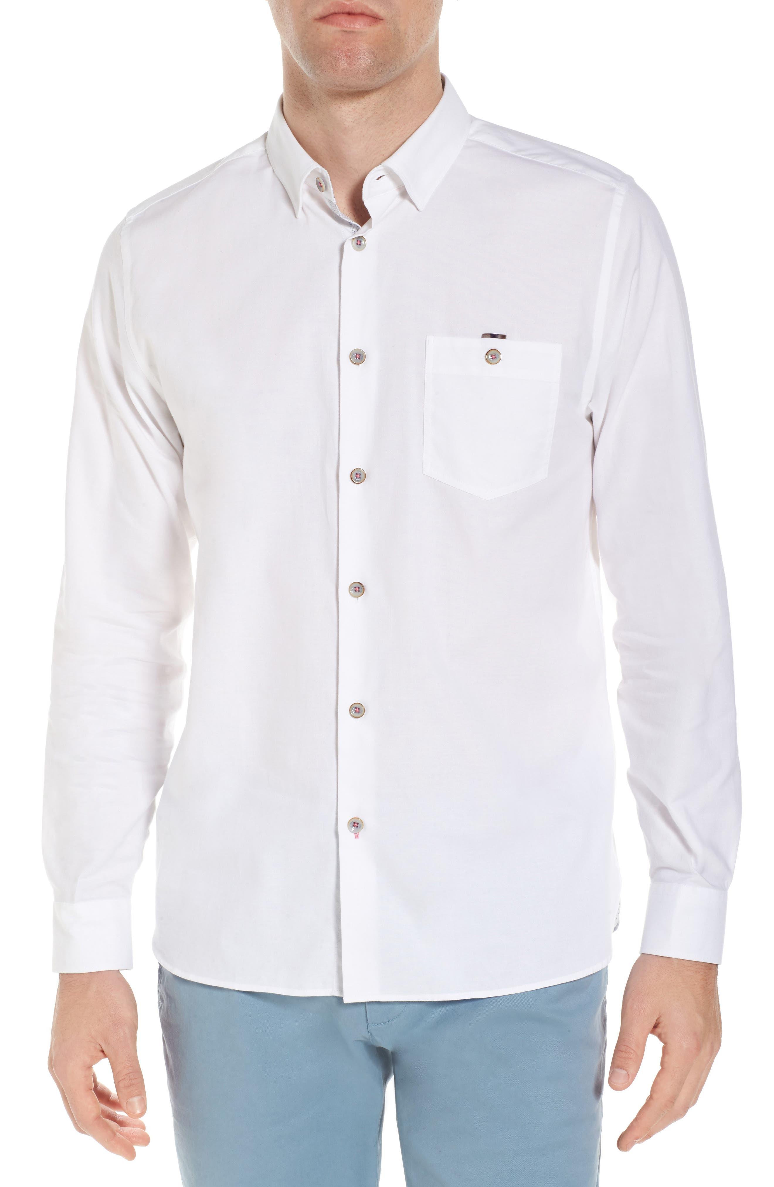 Slim Fit Textured Sport Shirt,                             Main thumbnail 1, color,                             White