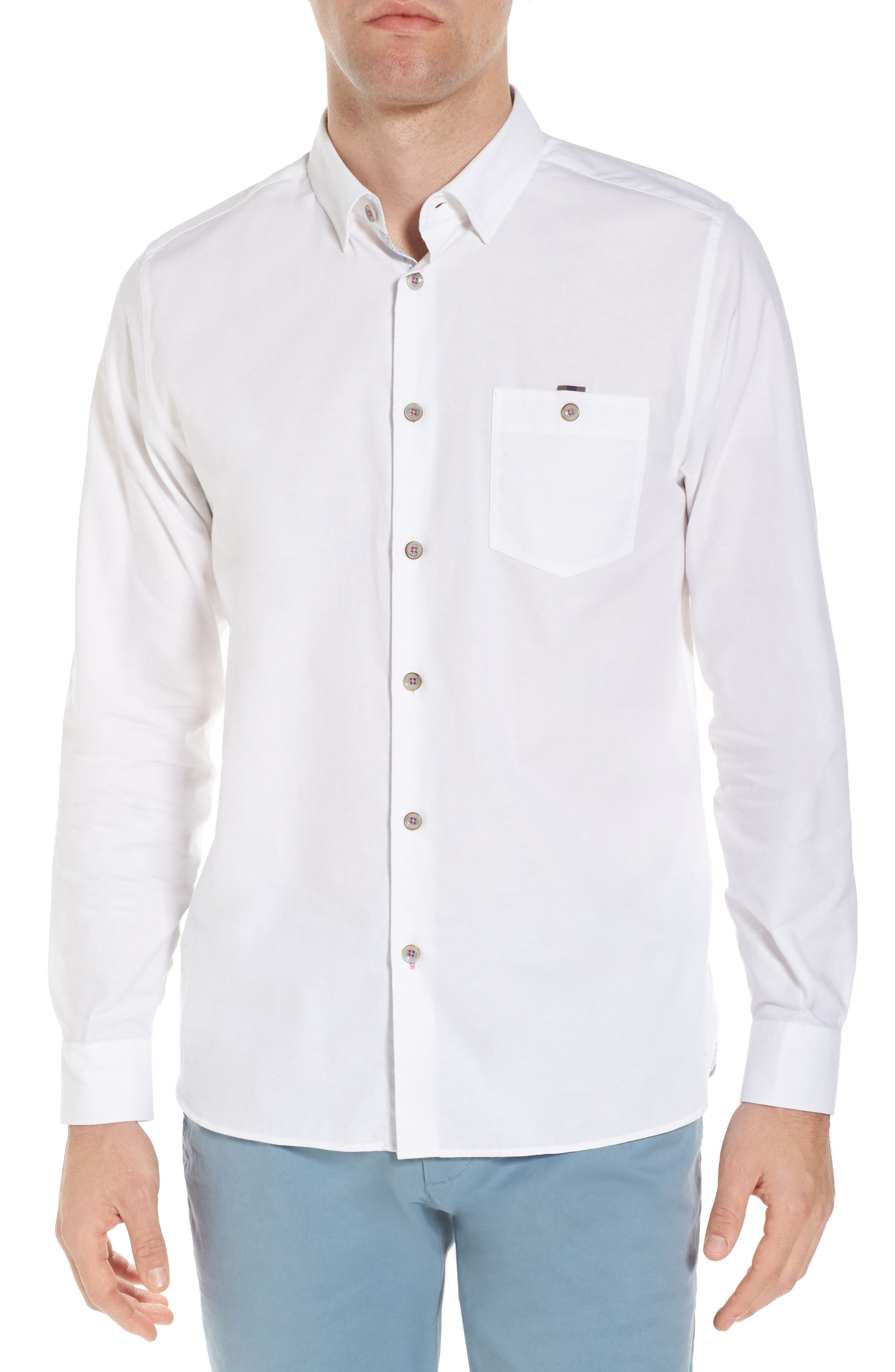 Slim Fit Textured Sport Shirt,                         Main,                         color, White