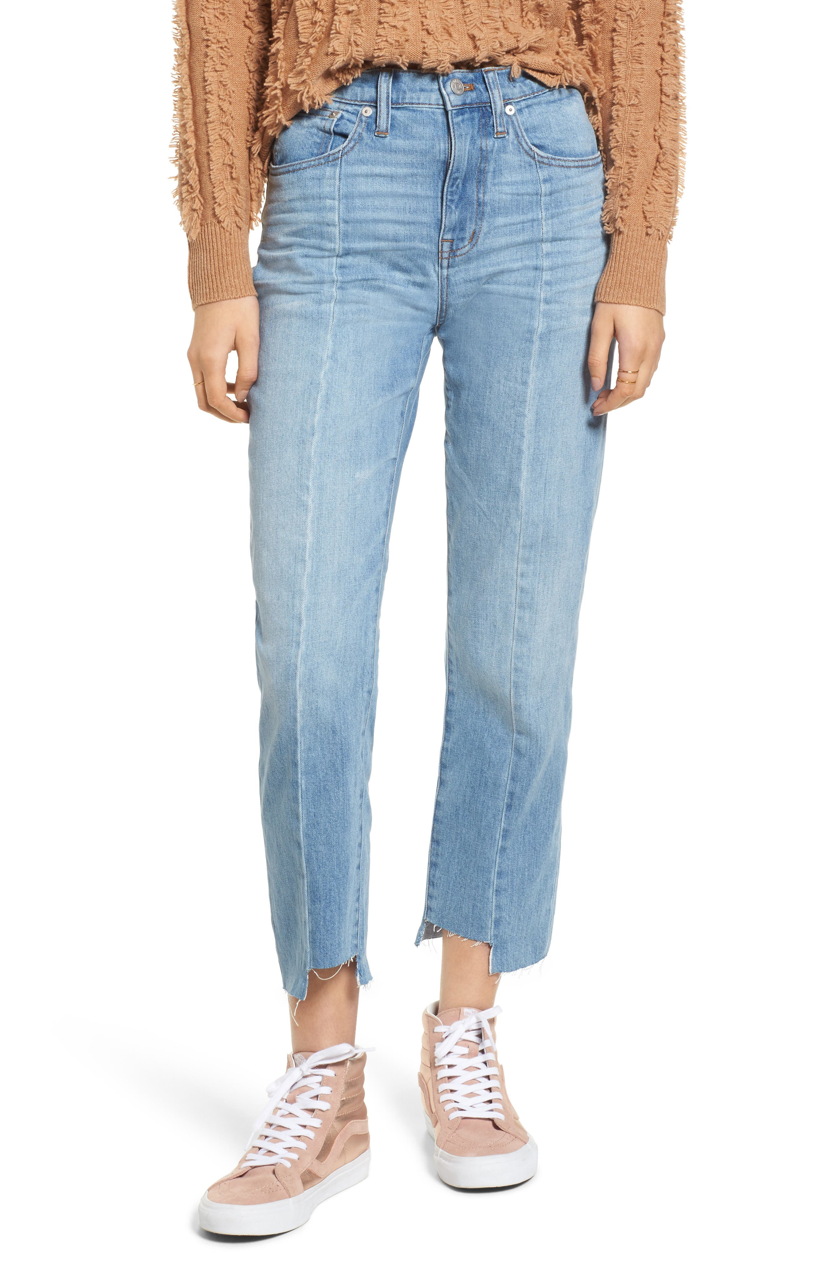 Main Image - Madewell Cruiser Pieced High Waist Straight Leg Jeans (Travis Wash)