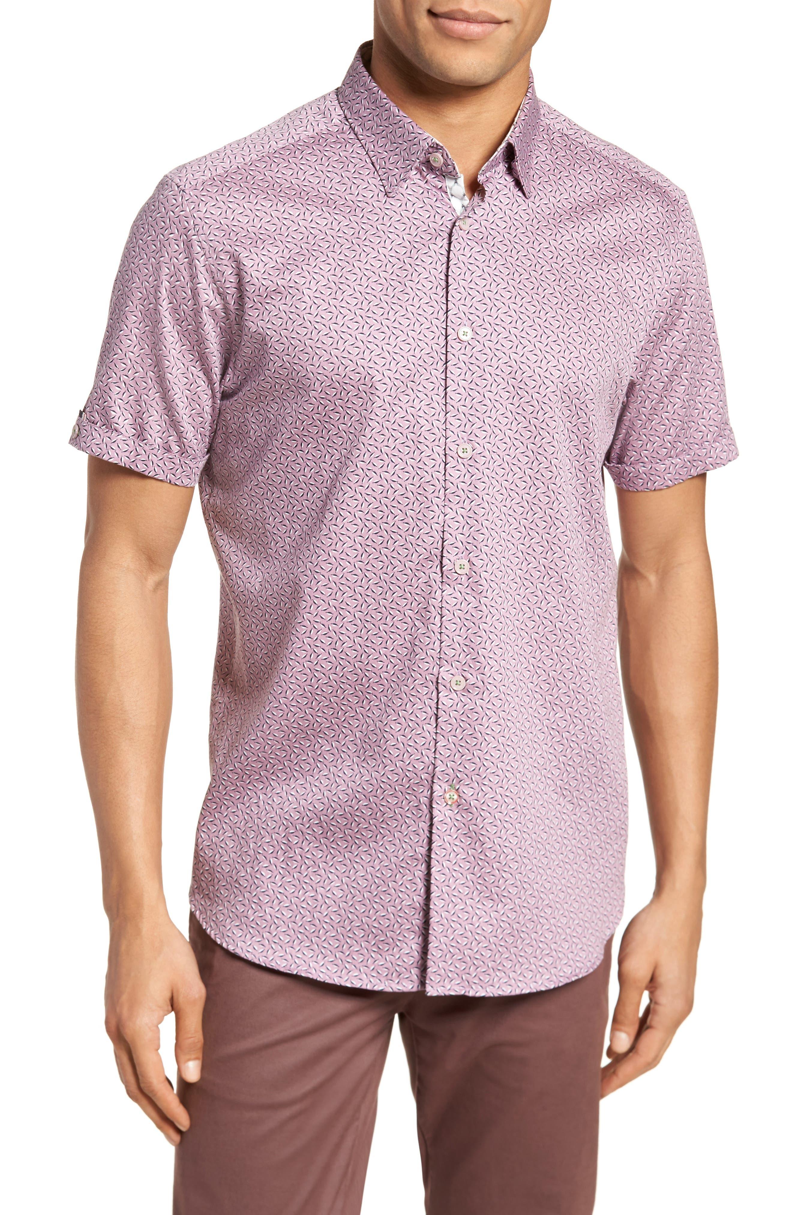 Narnar Trim Fit Geo Print Camp Shirt,                             Main thumbnail 1, color,                             Light Pink