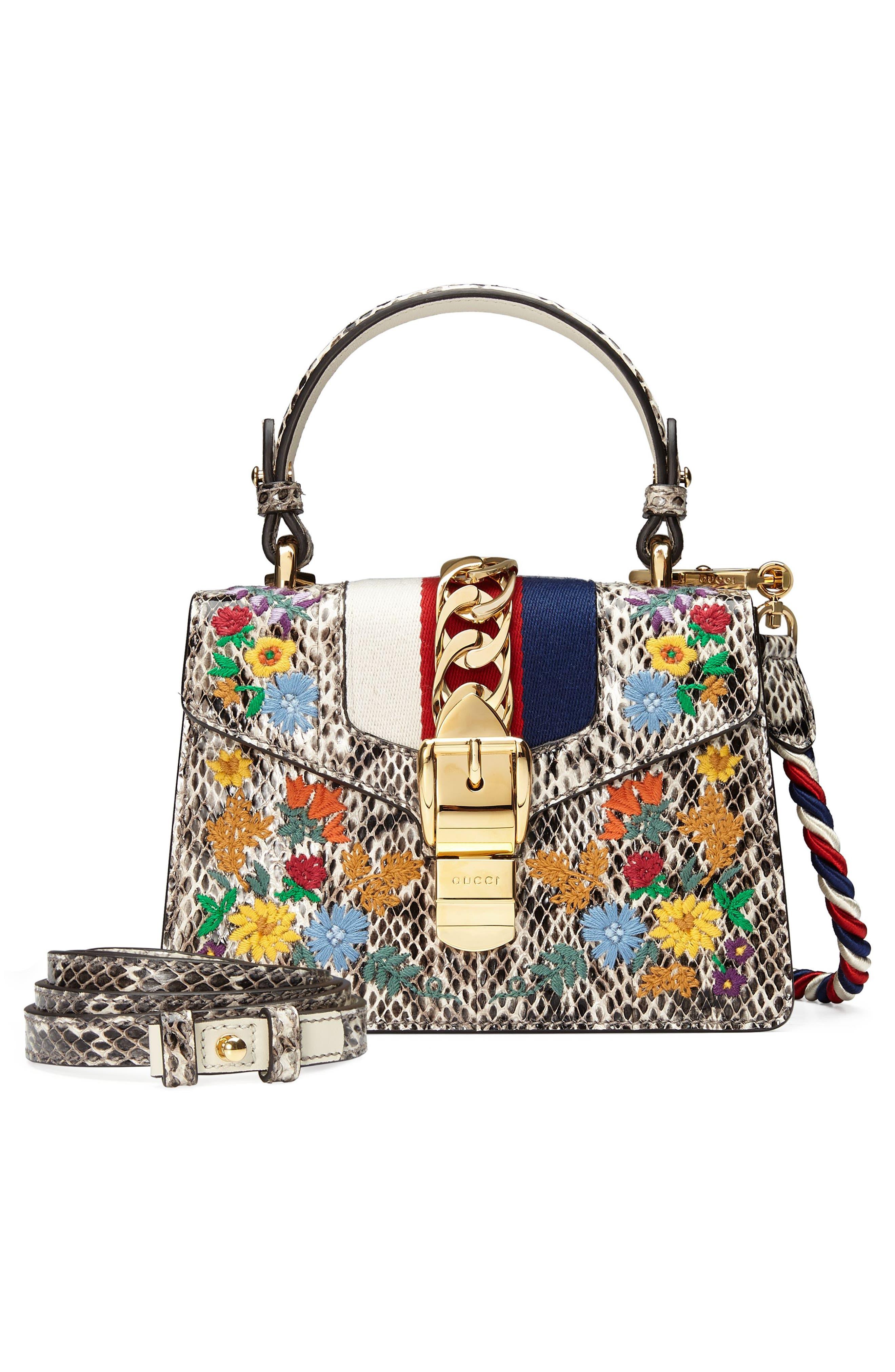 Mini Sylvie Genuine Snakeskin Top Handle Bag,                             Alternate thumbnail 5, color,                             Roccia Multi