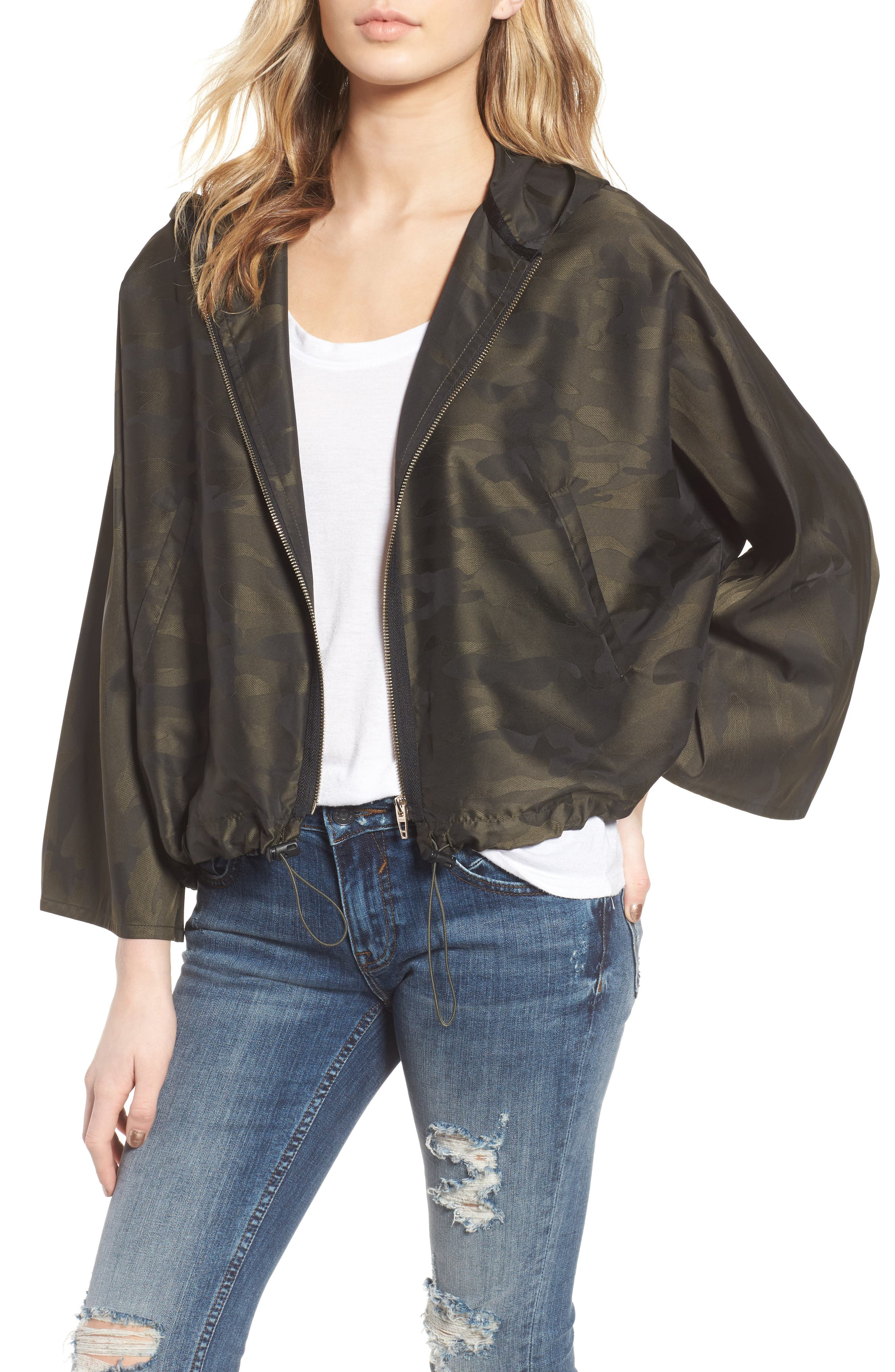 Camo We Not Bell Sleeve Jacket,                         Main,                         color, Olive Camo