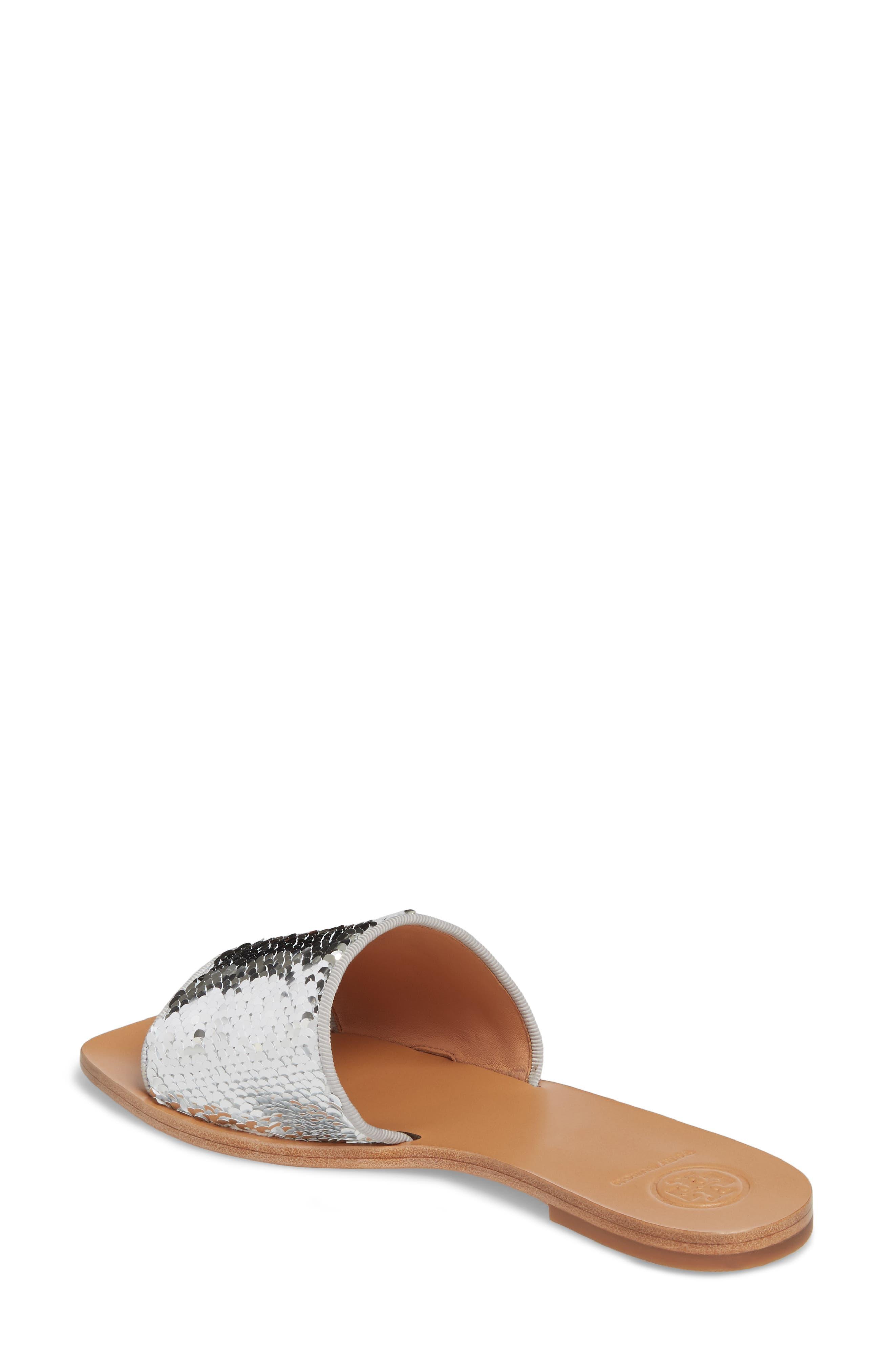 Carter Sequin Slide Sandal,                             Alternate thumbnail 2, color,                             Silver/ Perfect White