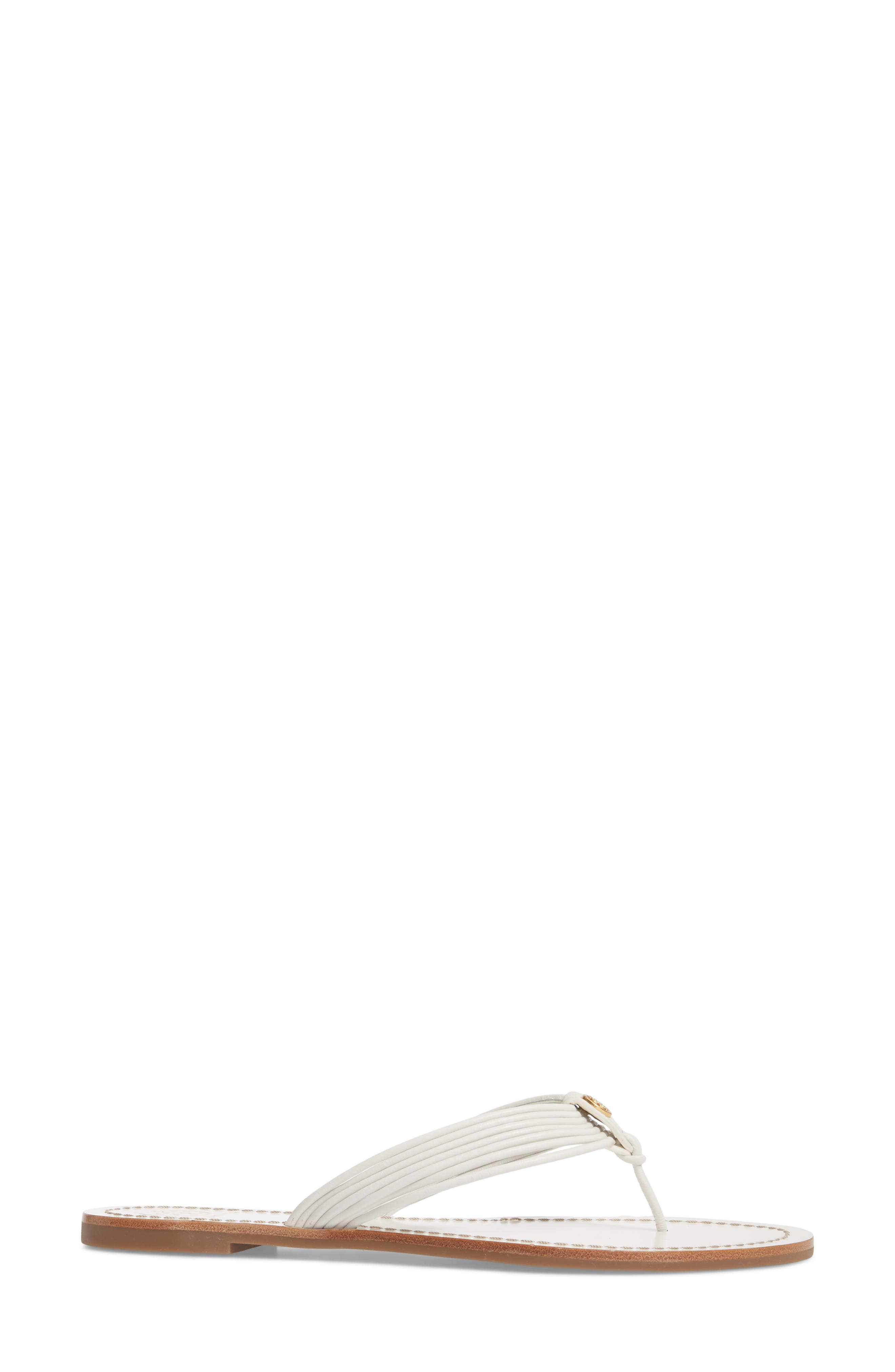 Sienna Strappy Thong Sandal,                             Alternate thumbnail 3, color,                             Perfect White/ Perfect White