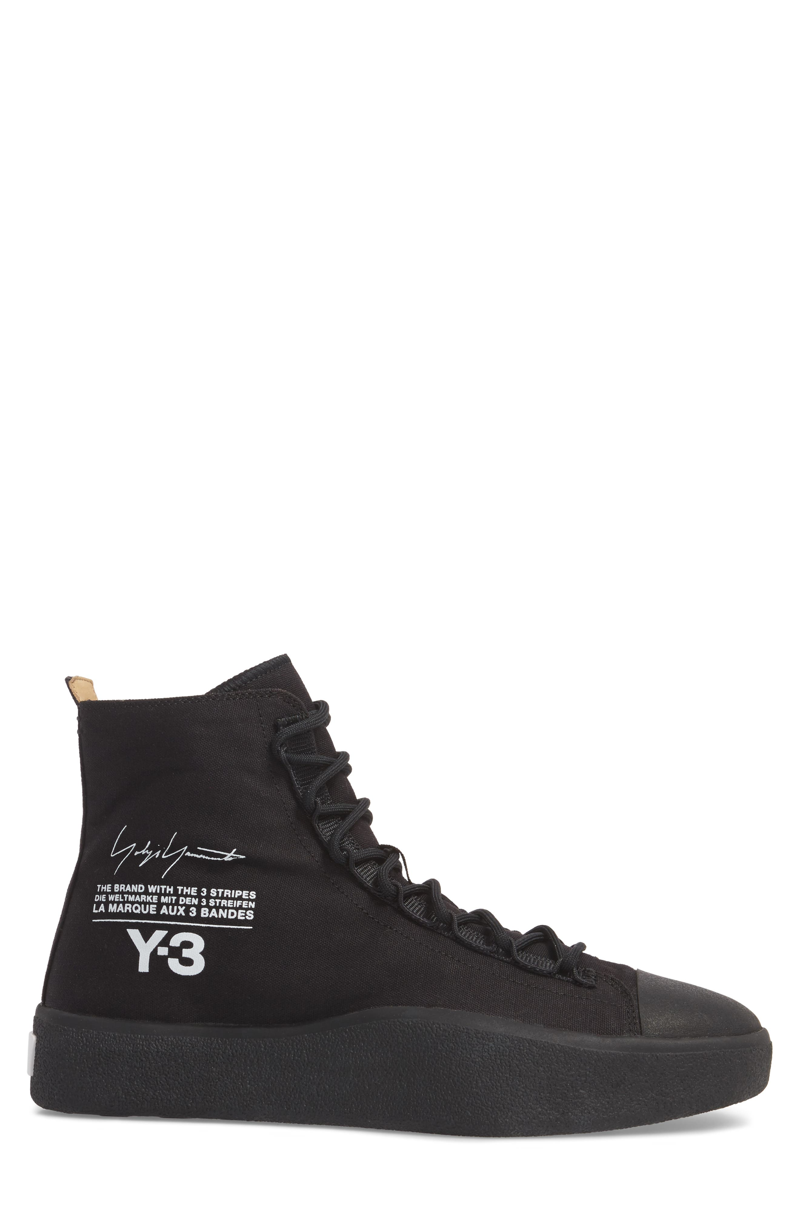 x adidas Bashyo High Top Sneaker,                             Alternate thumbnail 3, color,                             Black