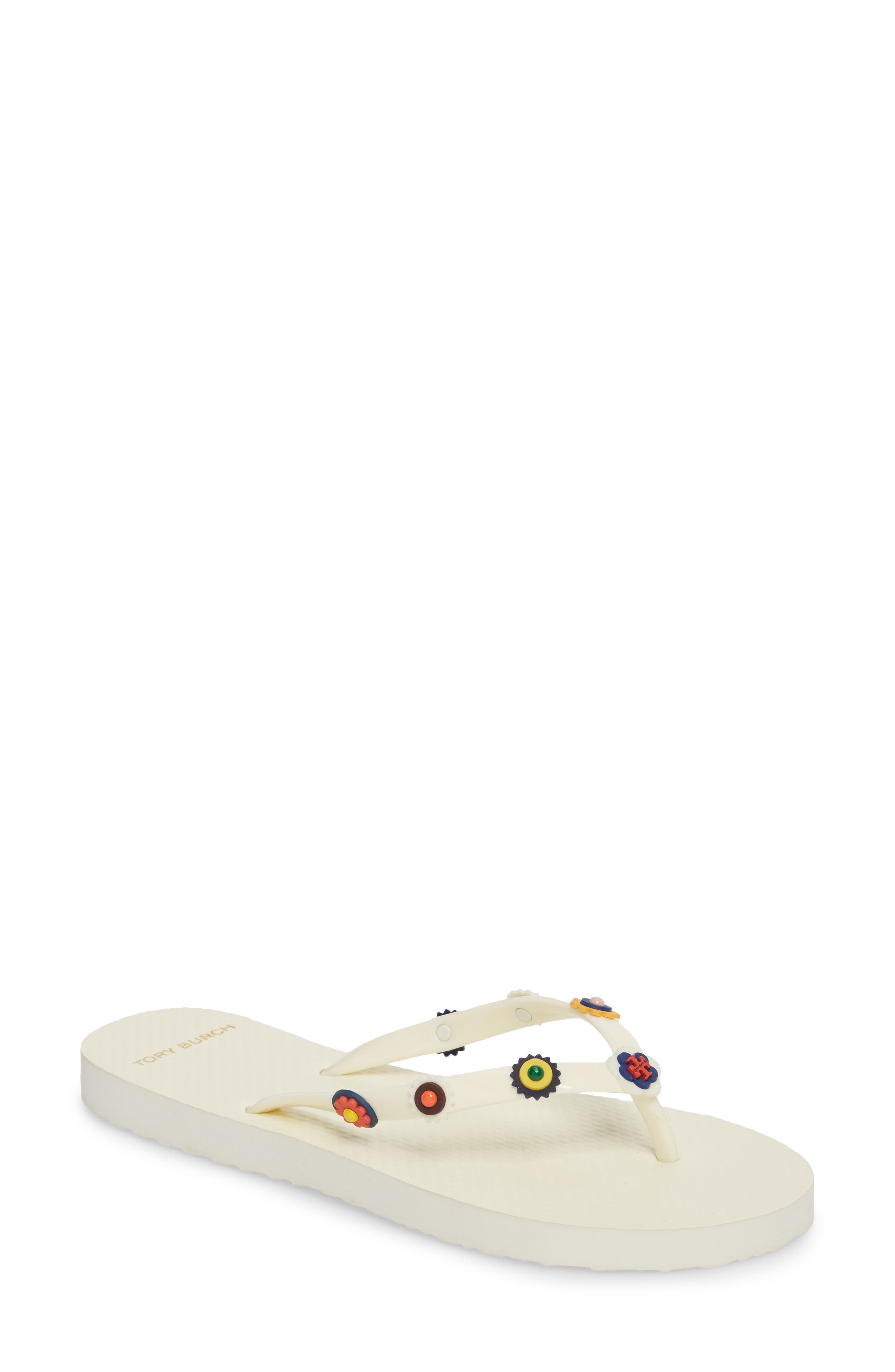 Marguerite 2 Studded Flip Flop,                         Main,                         color, Perfect Ivory