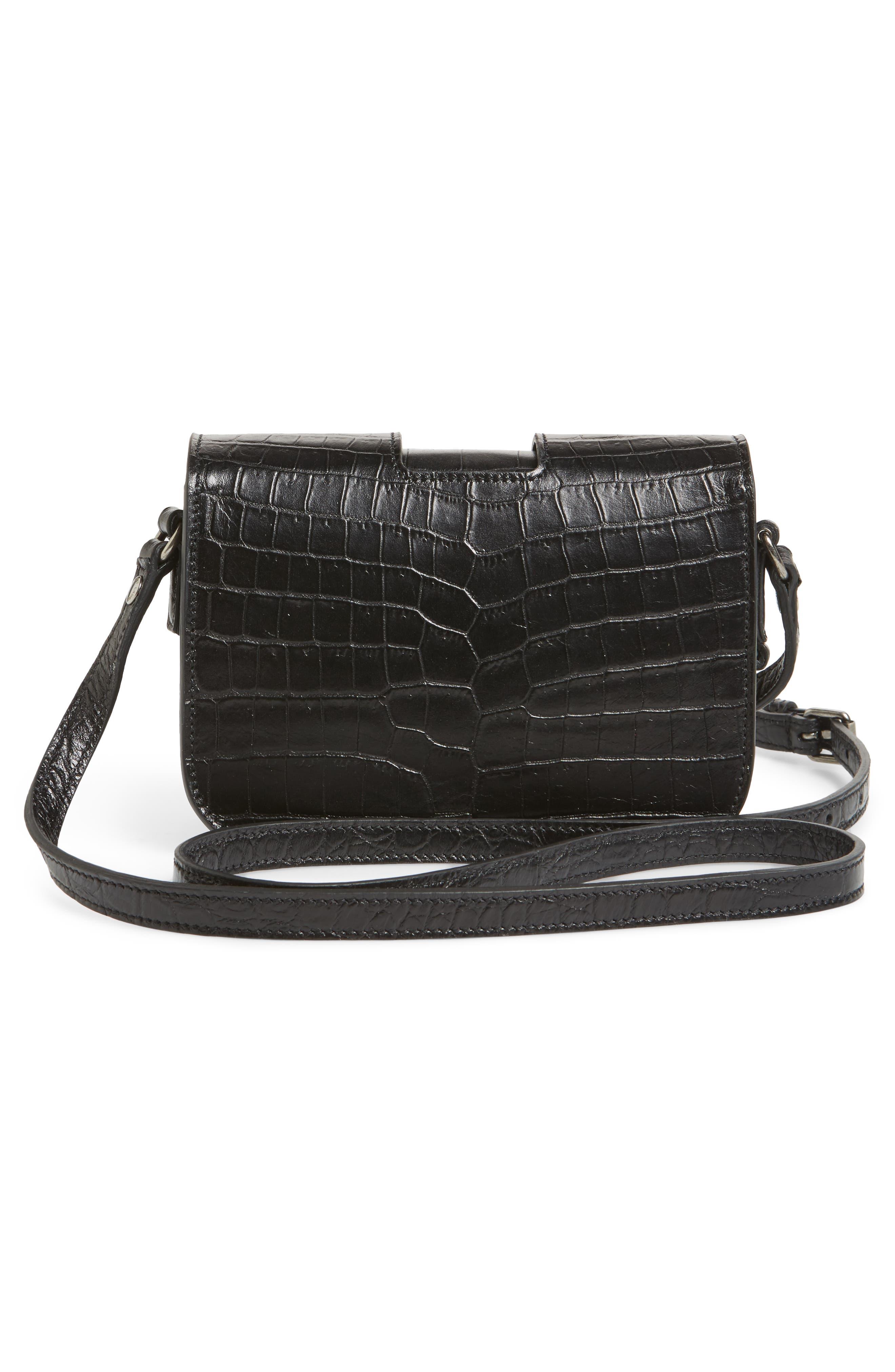 Croc Embossed Leather Crossbody Bag,                             Alternate thumbnail 3, color,                             Noir